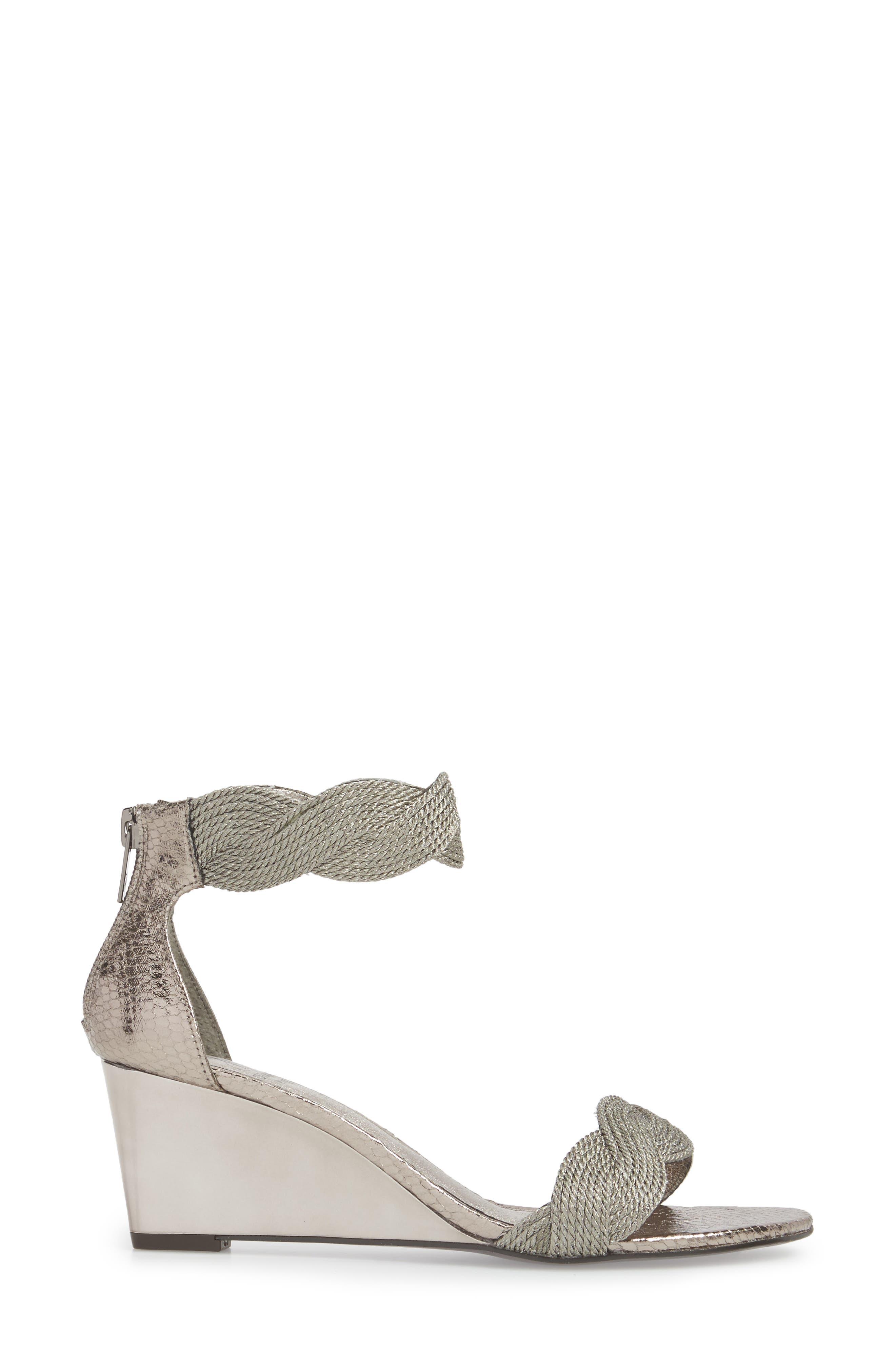 Adore Ankle Strap Sandal,                             Alternate thumbnail 3, color,                             Gunmetal Fabric