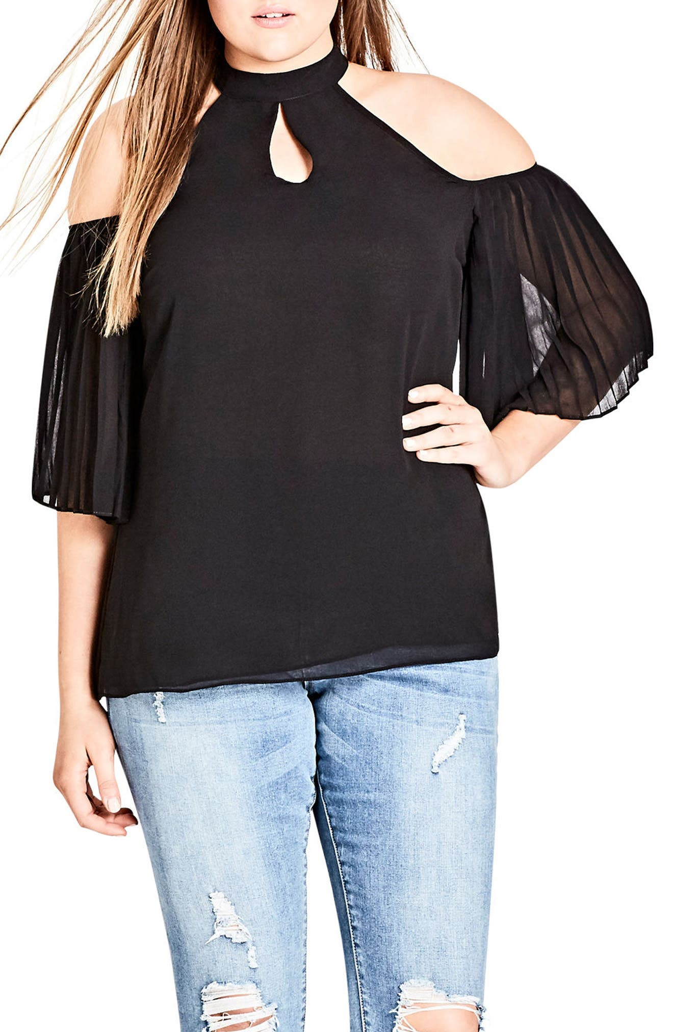 Pleated Cold Shoulder Top,                             Main thumbnail 1, color,                             Black