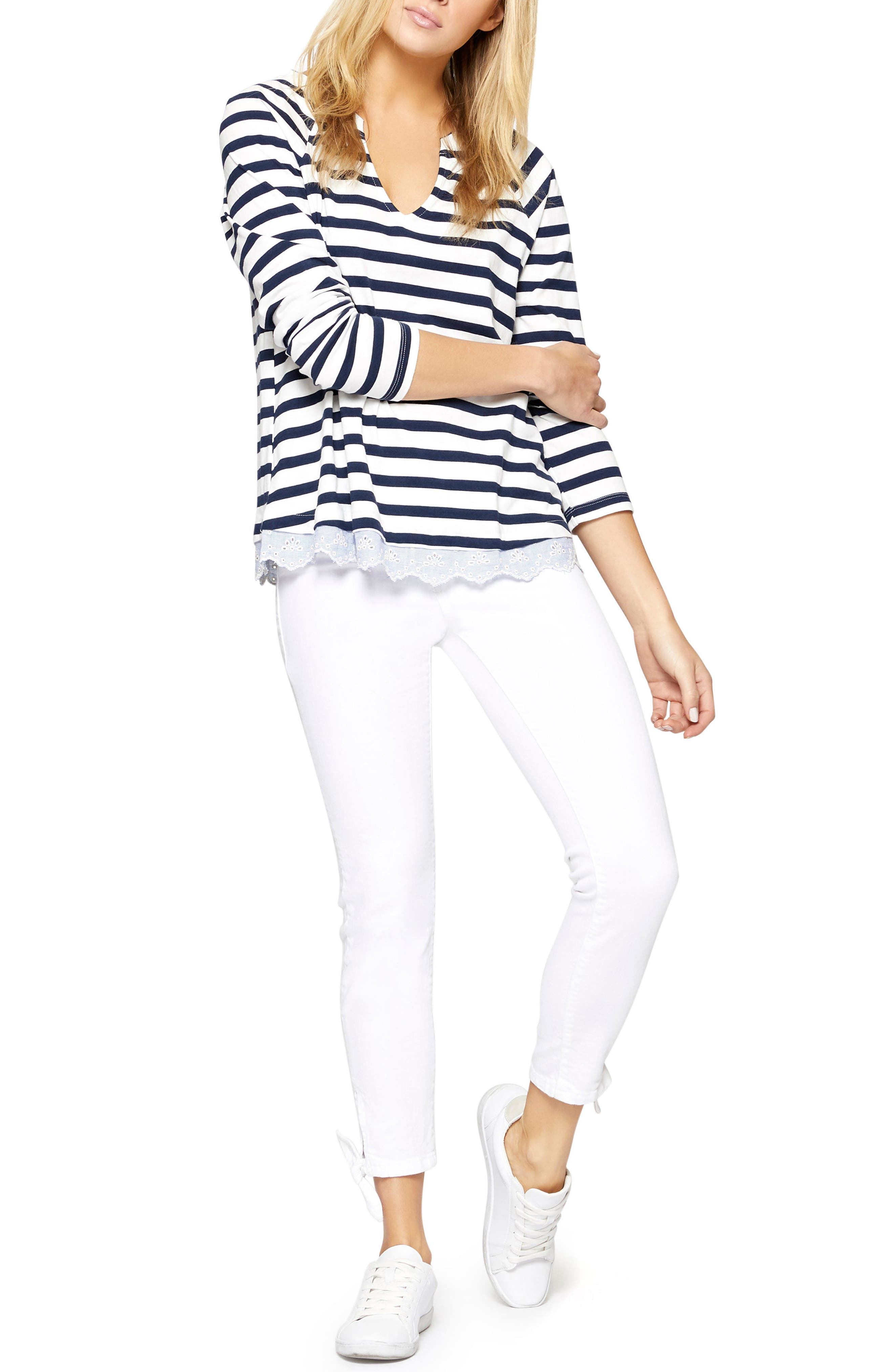 Stripe Eyelet Contrast Top,                             Alternate thumbnail 3, color,                             Blue Jay/ White