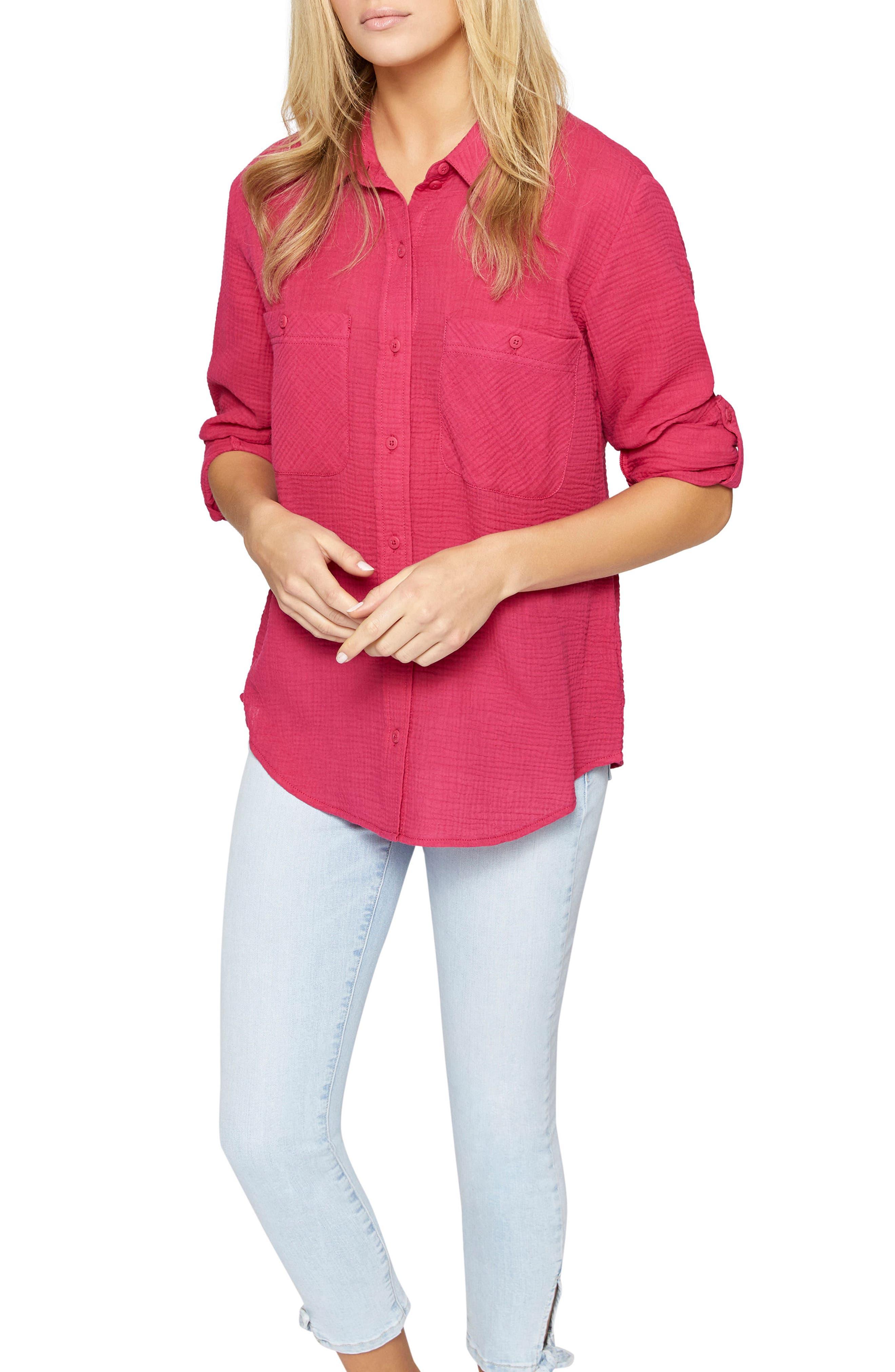 Steady Boyfriend Roll Tab Shirt,                             Alternate thumbnail 3, color,                             Camellia