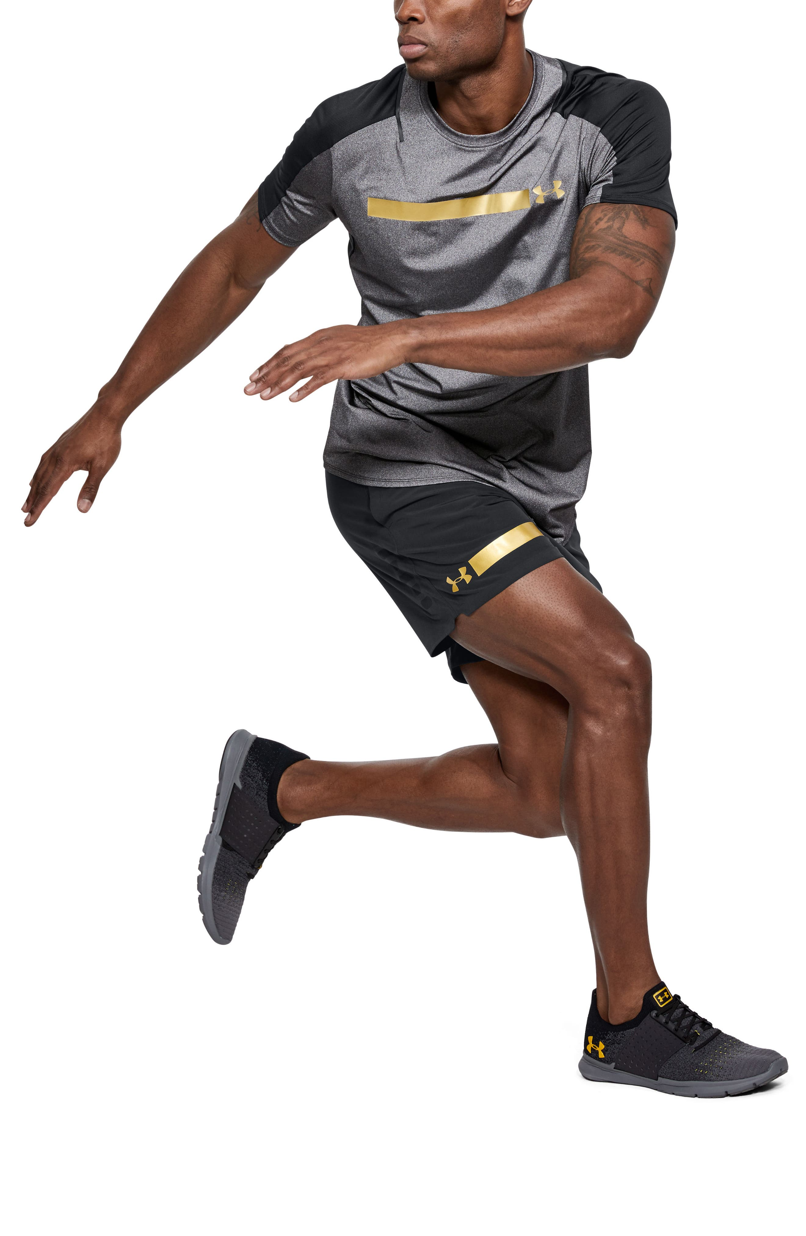 Perpetual Fitted Shorts,                             Alternate thumbnail 2, color,                             Black/ Metallic Victory Gold