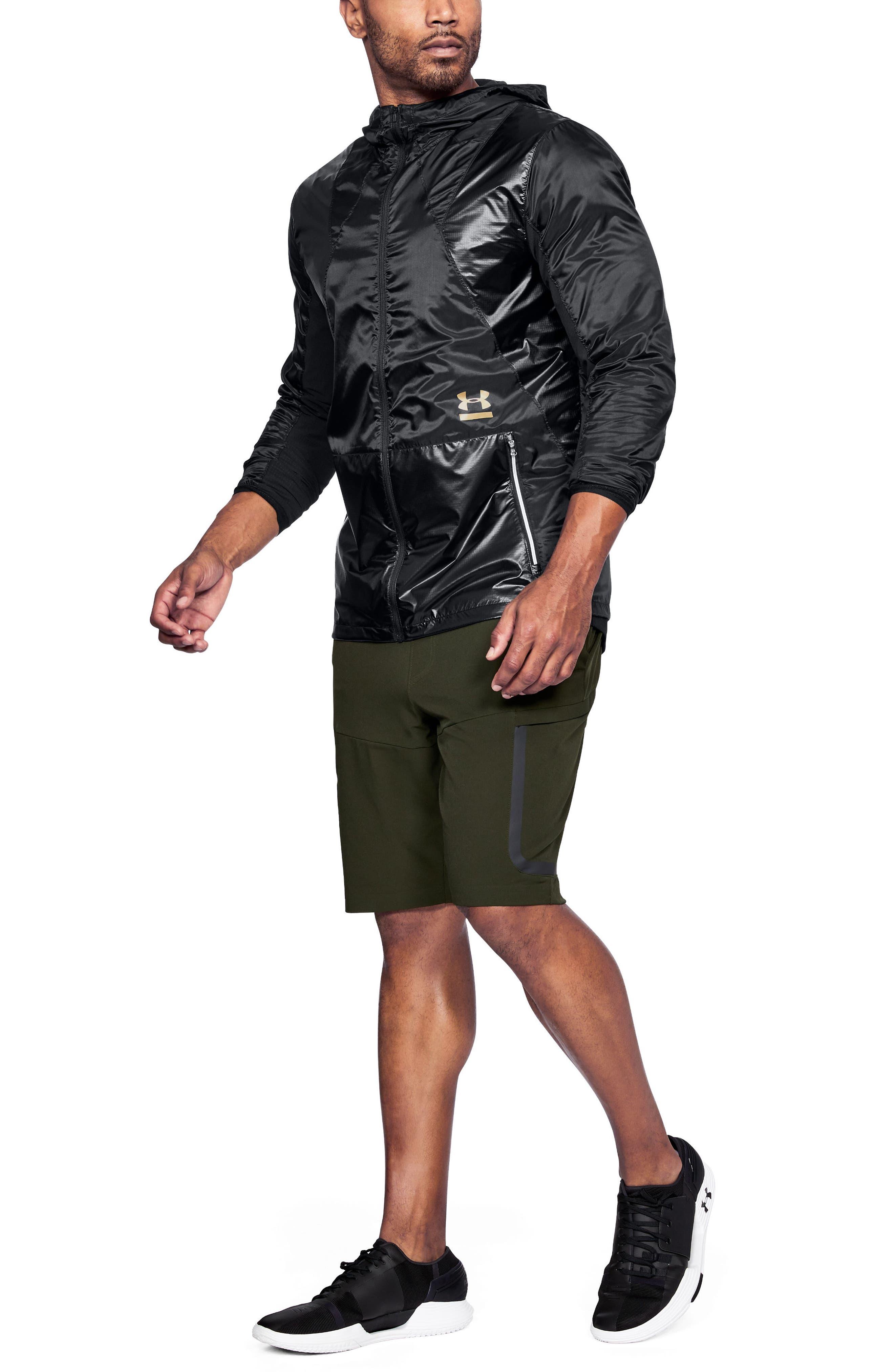 Perpetual Windproof & Water Resistant Hooded Jacket,                             Alternate thumbnail 4, color,                             Black/ Metallic Victory Gold