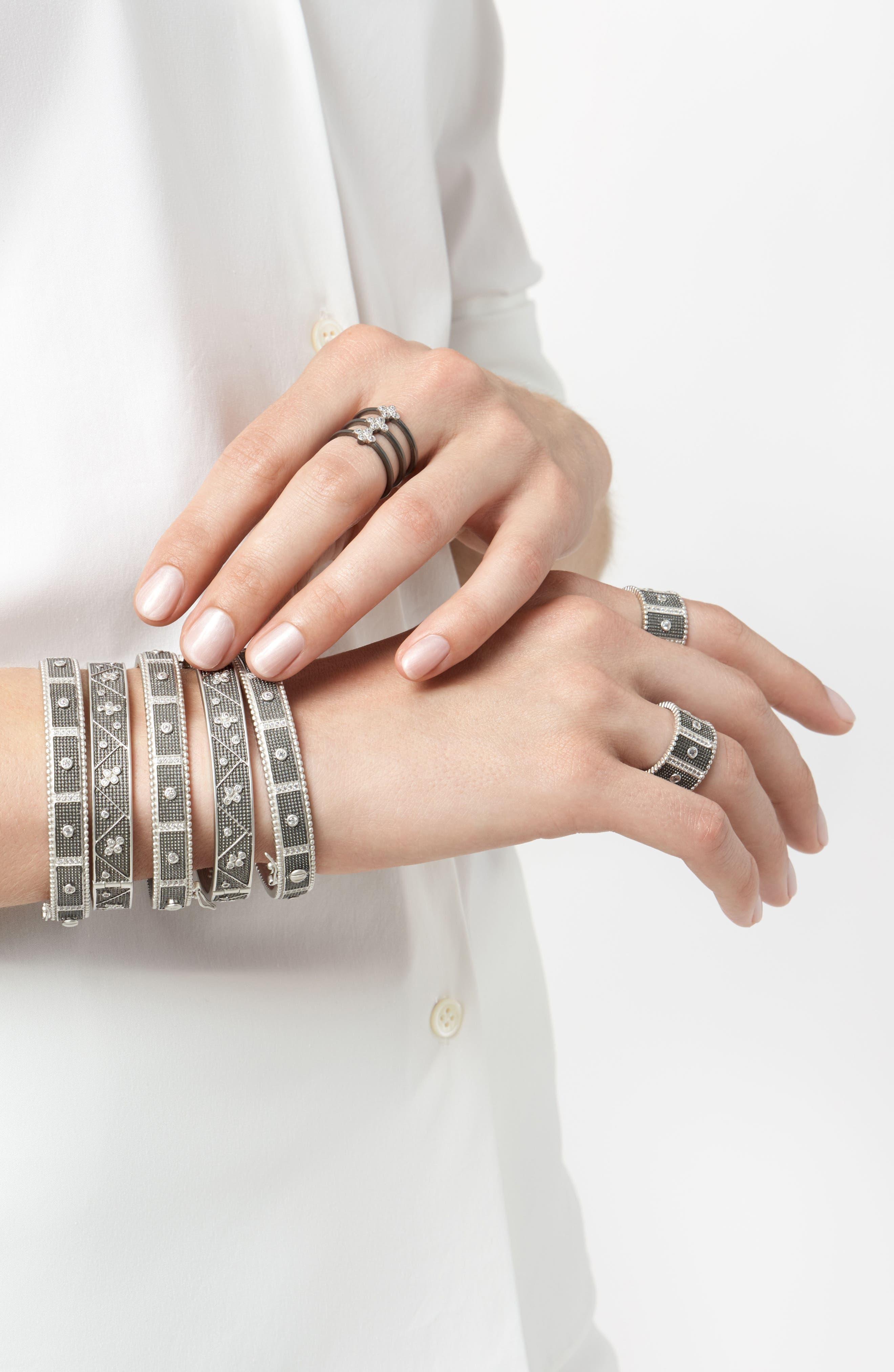 Industrial Finish Bezel Bar Cuff Bracelet,                             Alternate thumbnail 4, color,                             Silver/ Black Rhodium