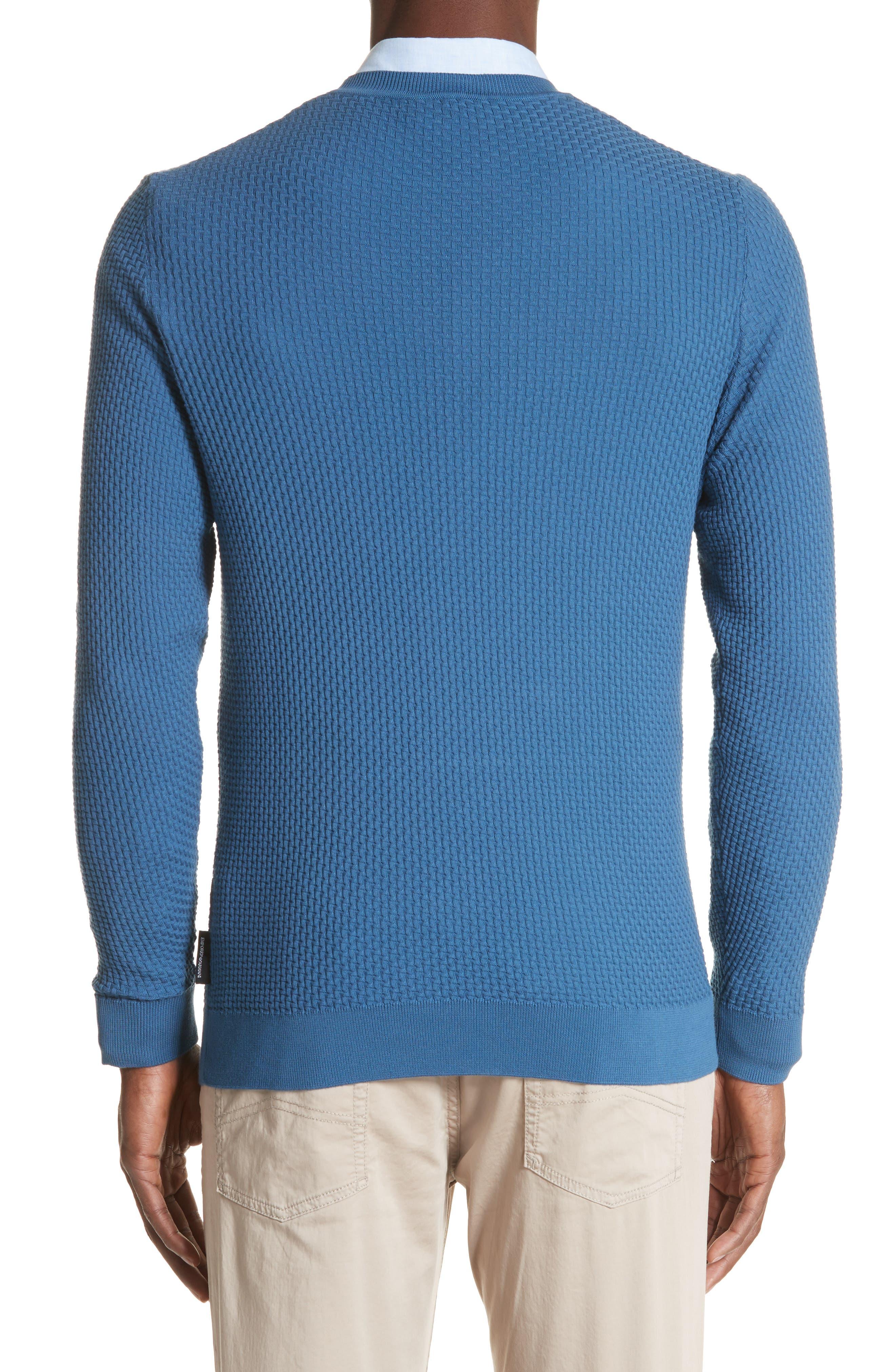 Slim Fit Textured Crew Sweater,                             Alternate thumbnail 2, color,                             Avio Scuro