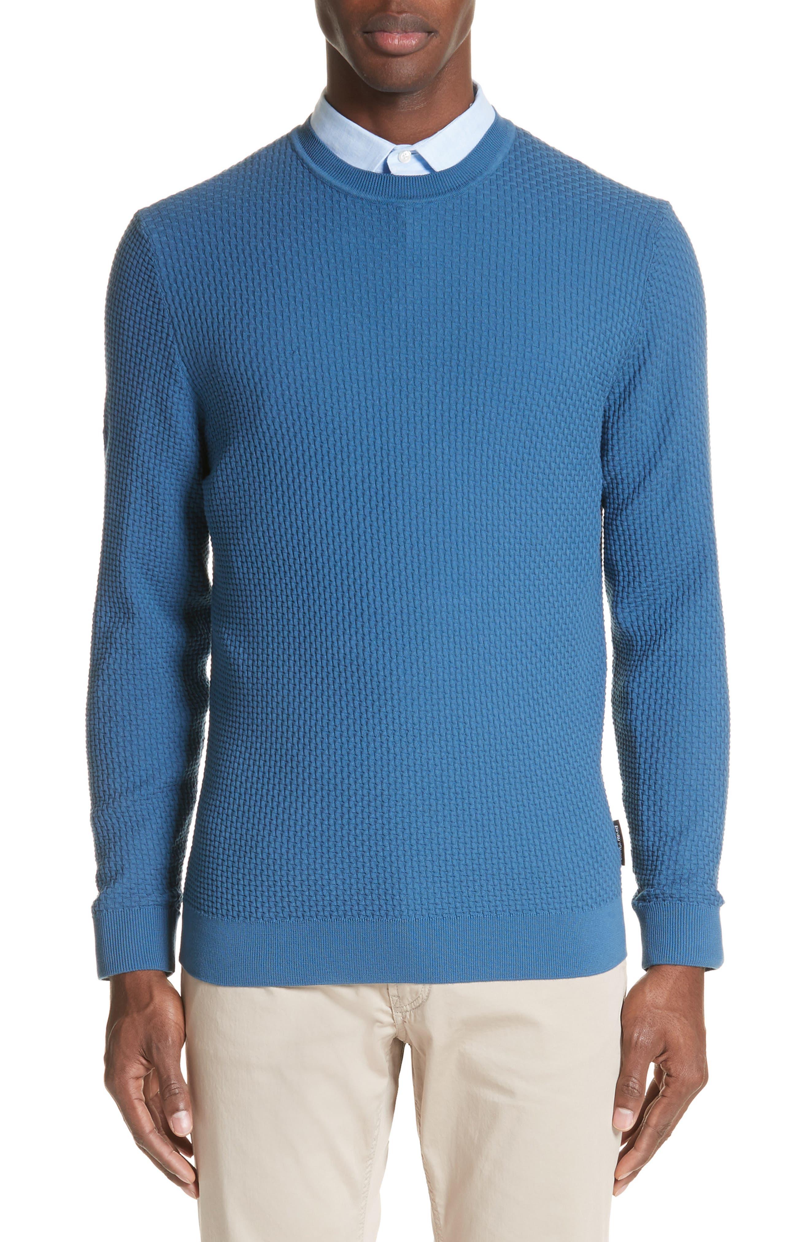 Slim Fit Textured Crew Sweater,                         Main,                         color, Avio Scuro