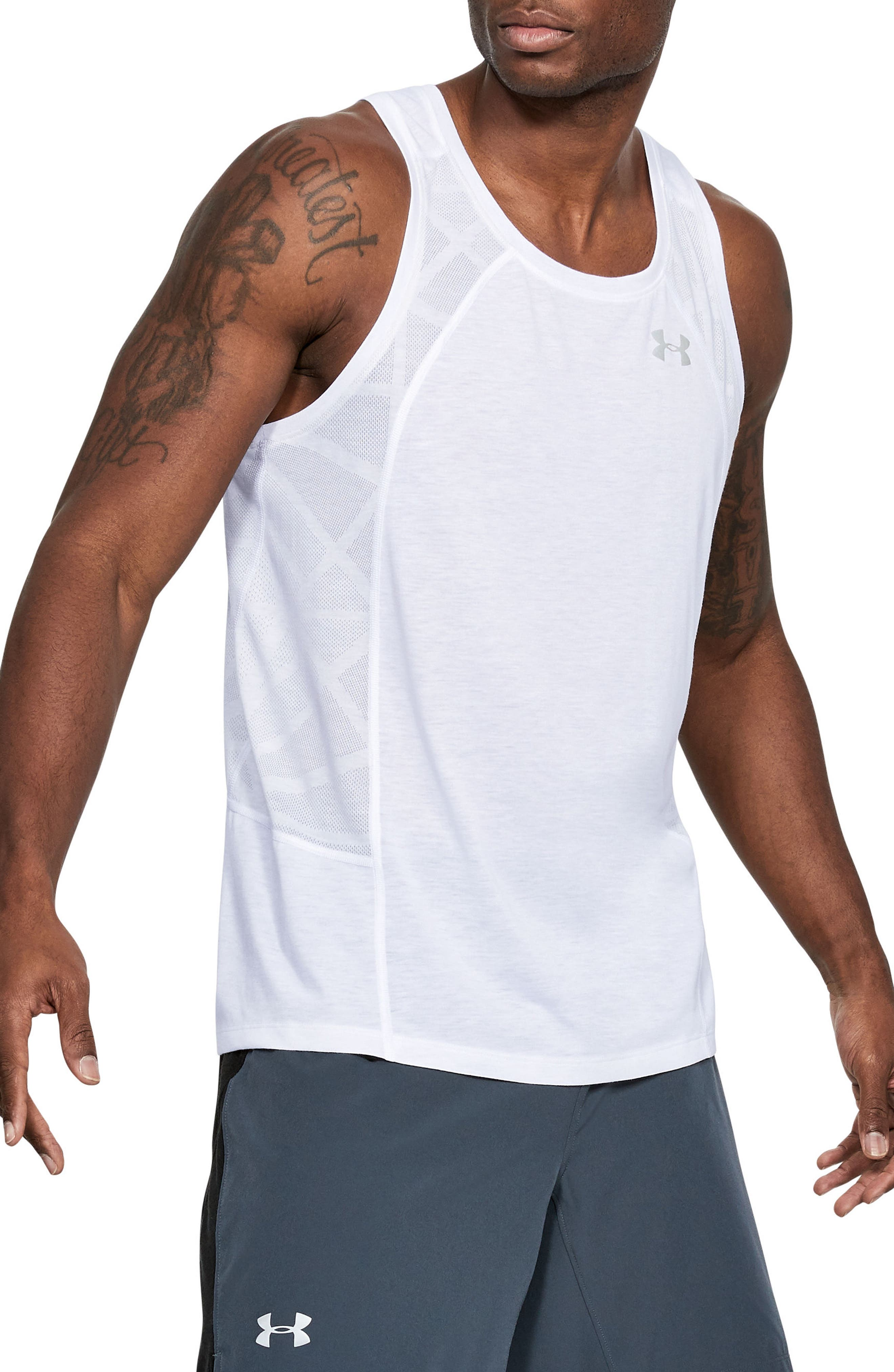 Threaborne Swyft Regular Fit Tank,                             Main thumbnail 1, color,                             White/ White/ Reflective