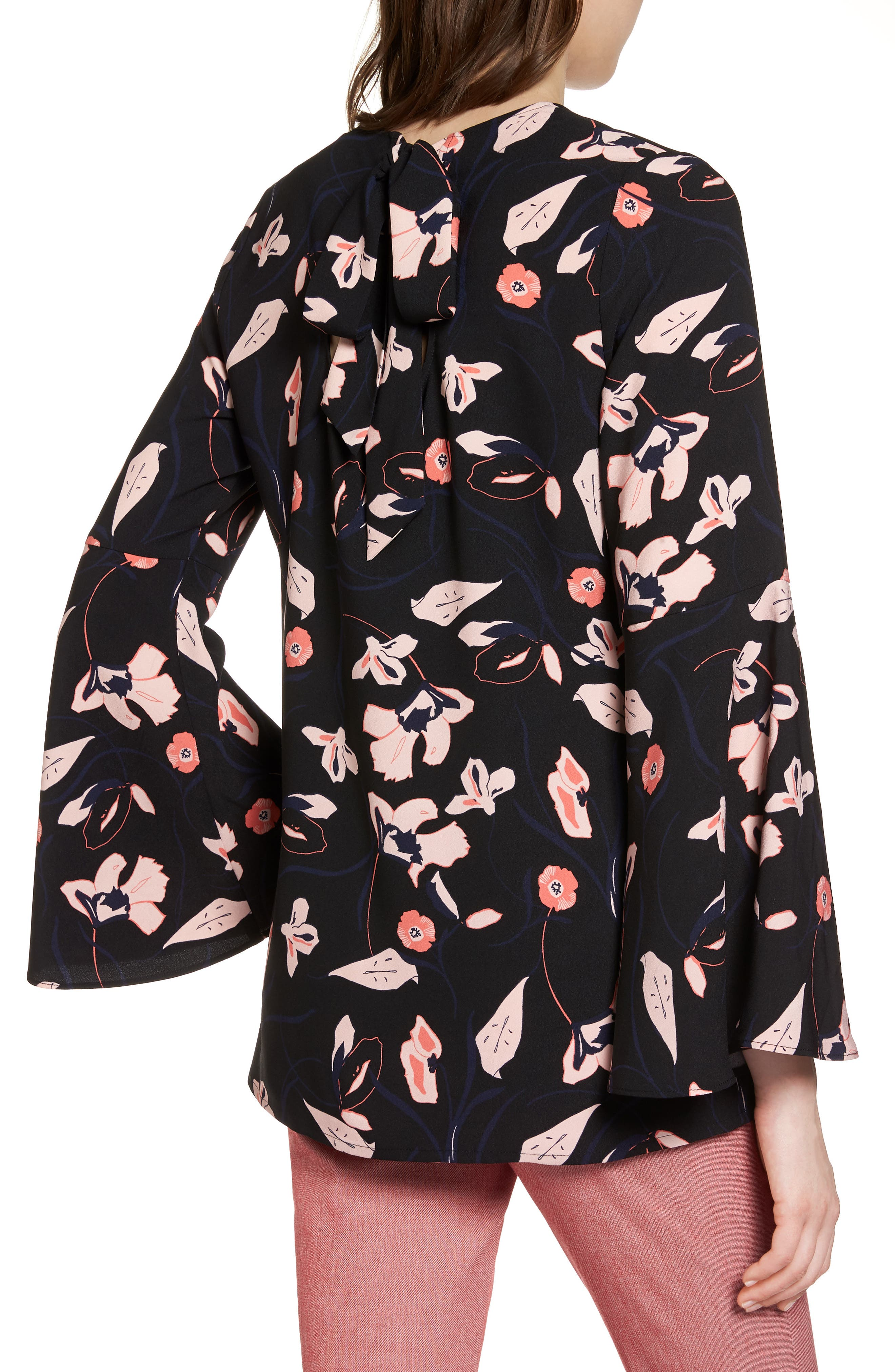 Bow Back Print Flare Sleeve Tunic,                             Alternate thumbnail 2, color,                             Black- Pink Floral