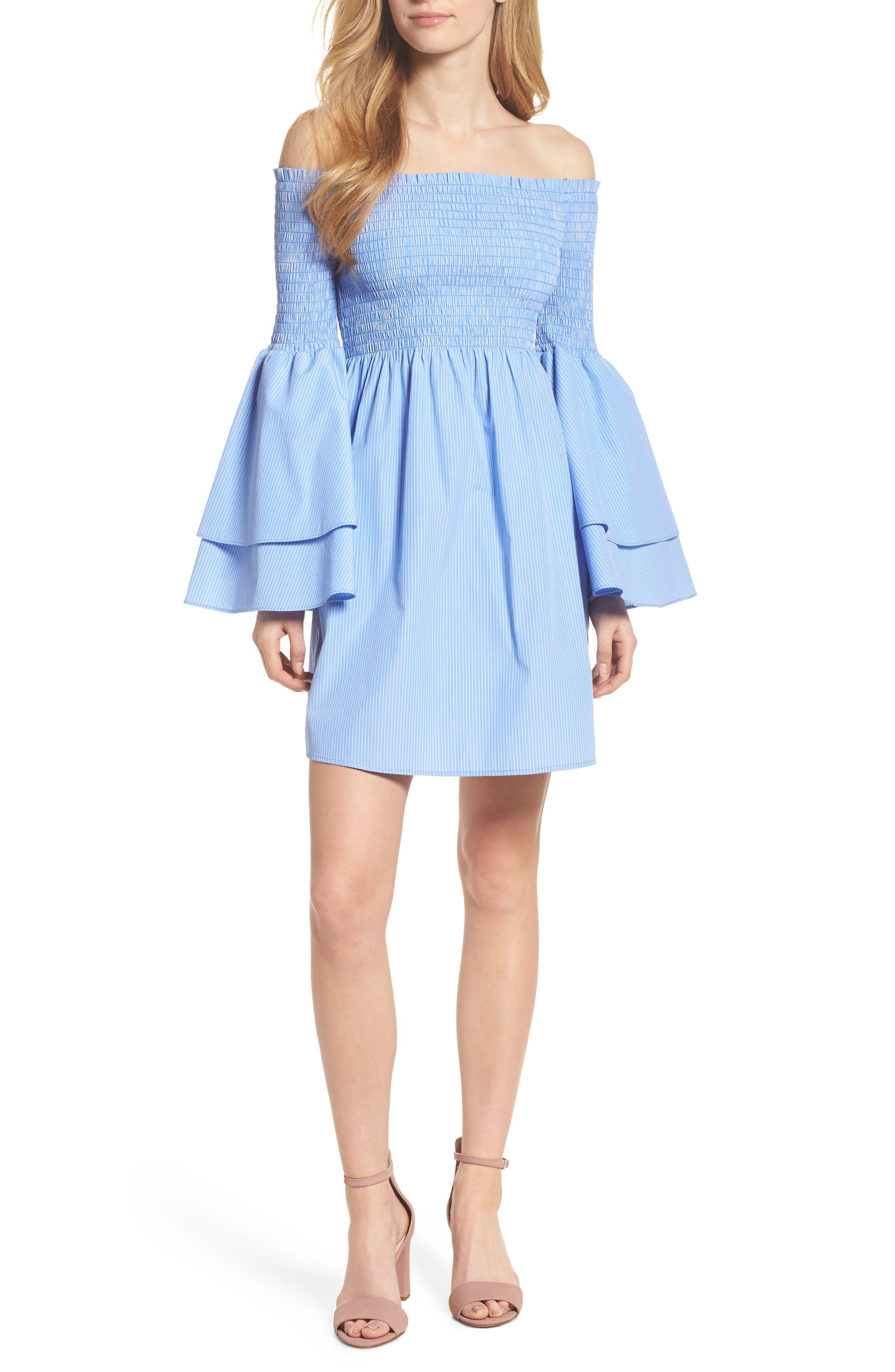 Smocked Off the Shoulder Bell Sleeve Dress,                             Main thumbnail 1, color,                             Blue/ White Stripe