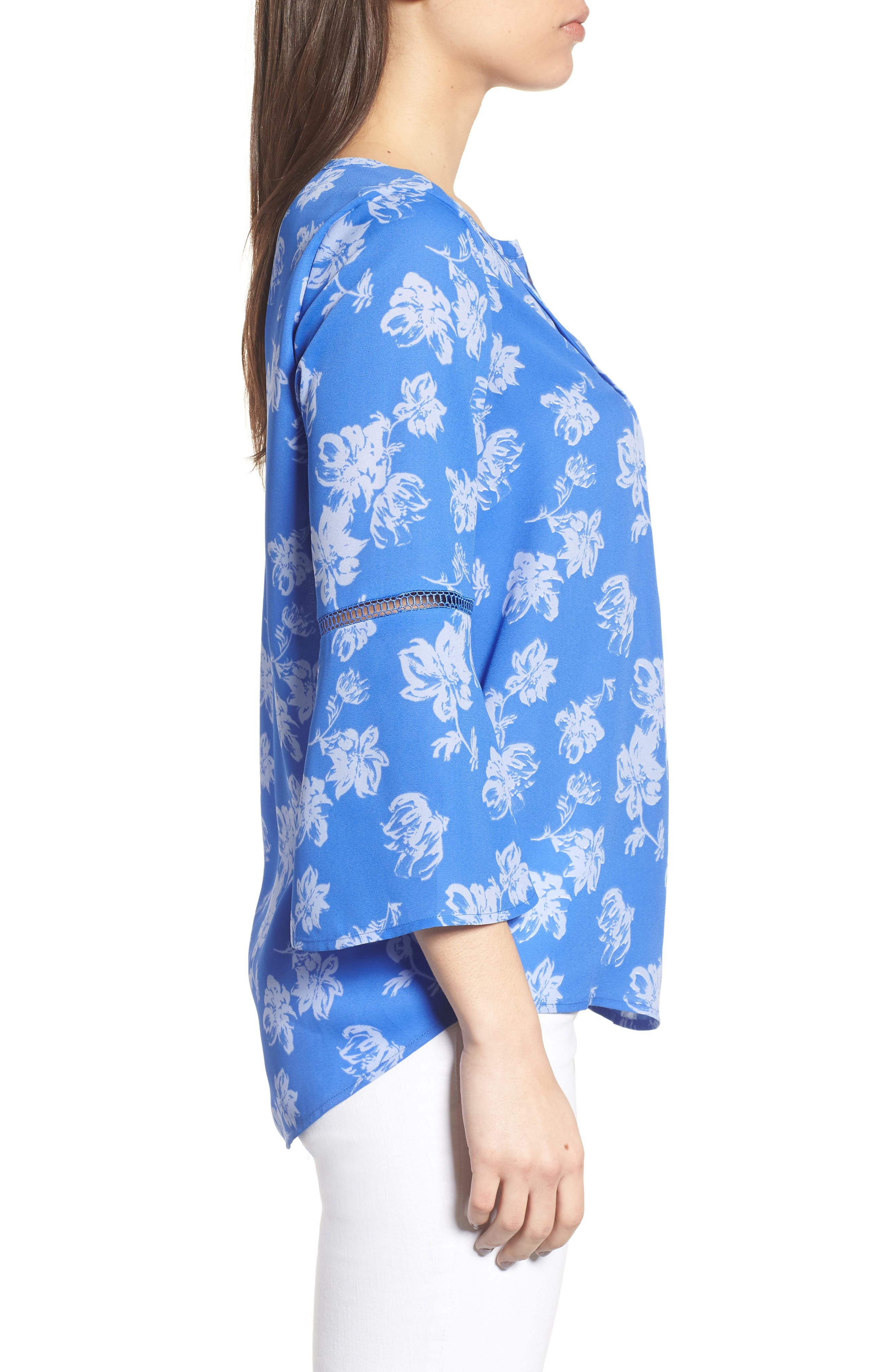 Bell Sleeve Floral Pintuck Blouse,                             Alternate thumbnail 3, color,                             428-Stella Blue