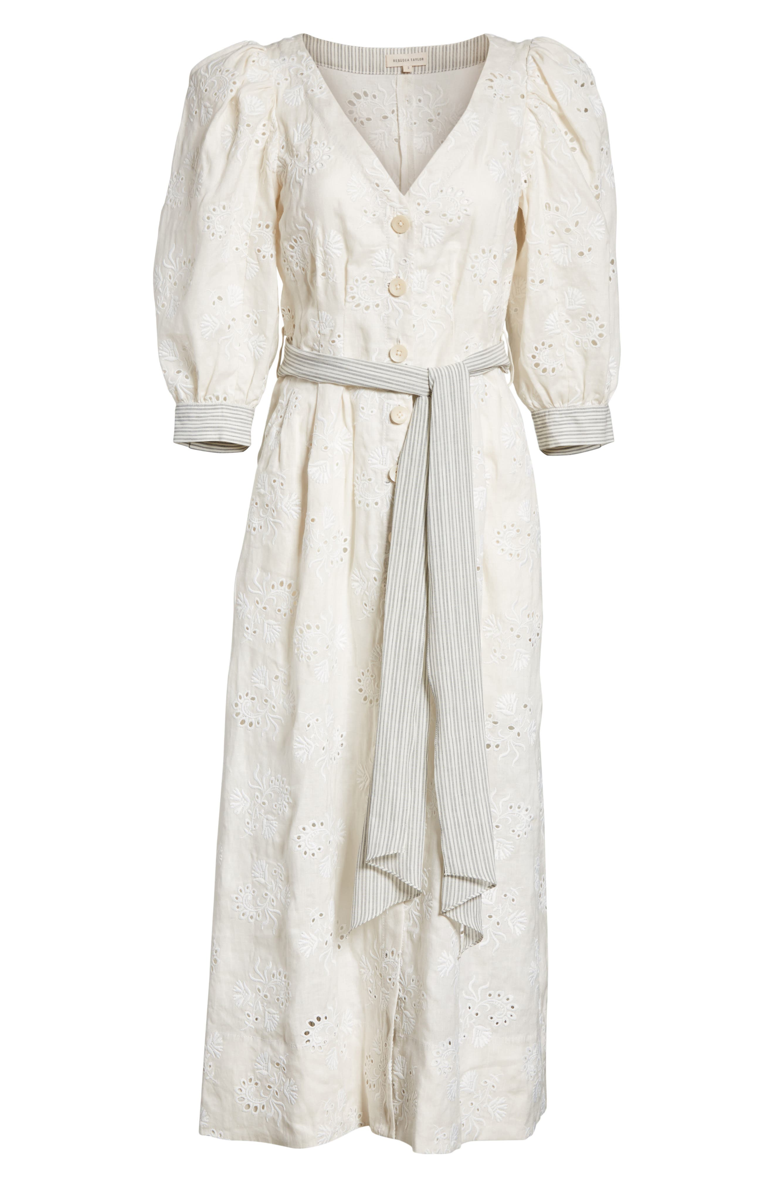 Garden Eyelet Midi Dress,                             Alternate thumbnail 6, color,                             Vanilla/ Milk
