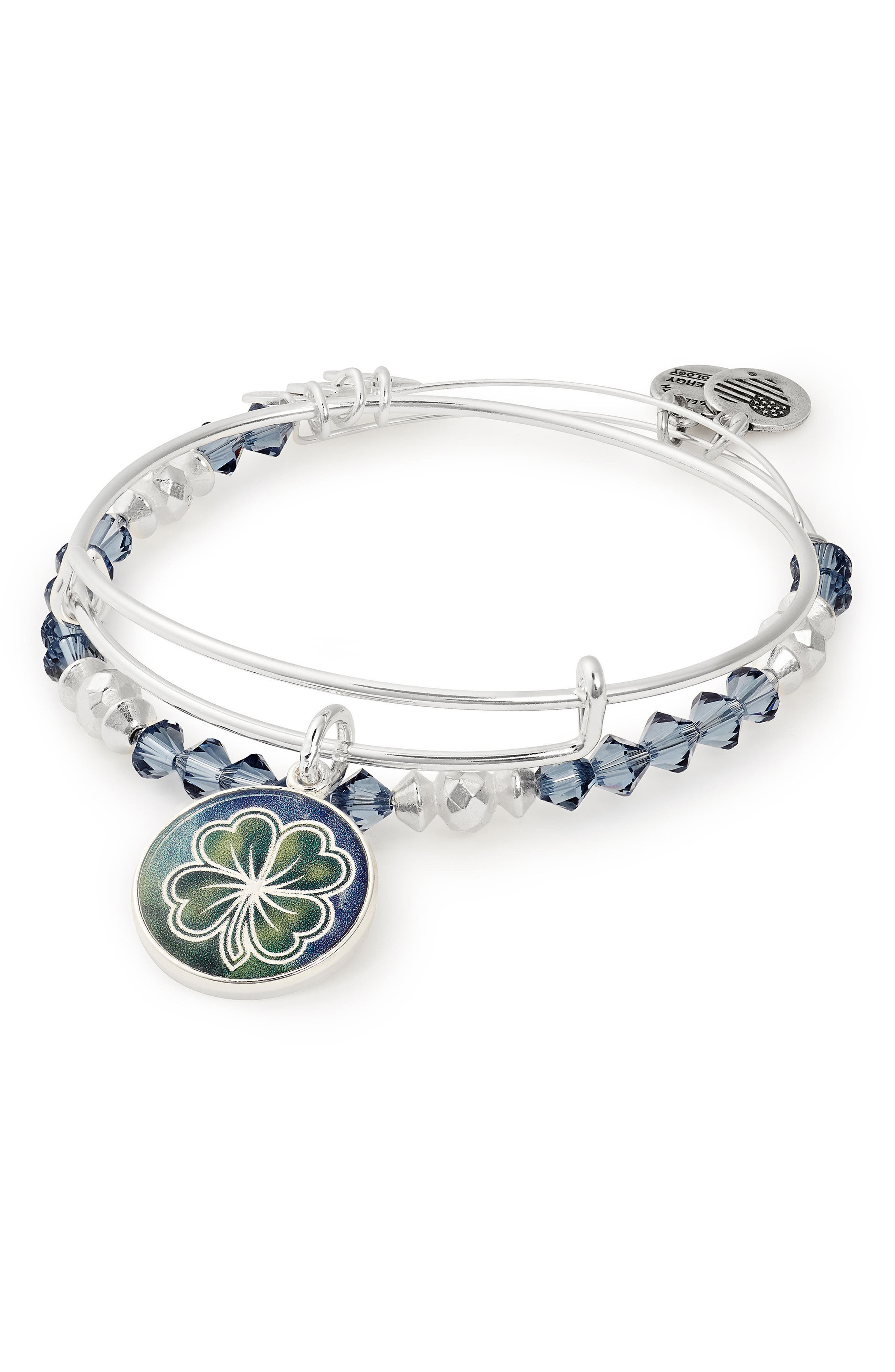 Four-Leaf Clover Art Infusion Set of 2 Bangles,                         Main,                         color, Silver