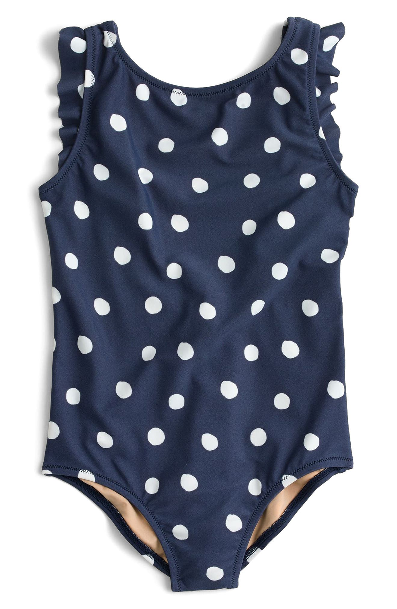 Polka Dot Flutter Sleeve One-Piece Swimsuit,                             Main thumbnail 1, color,                             Dusty Navy White