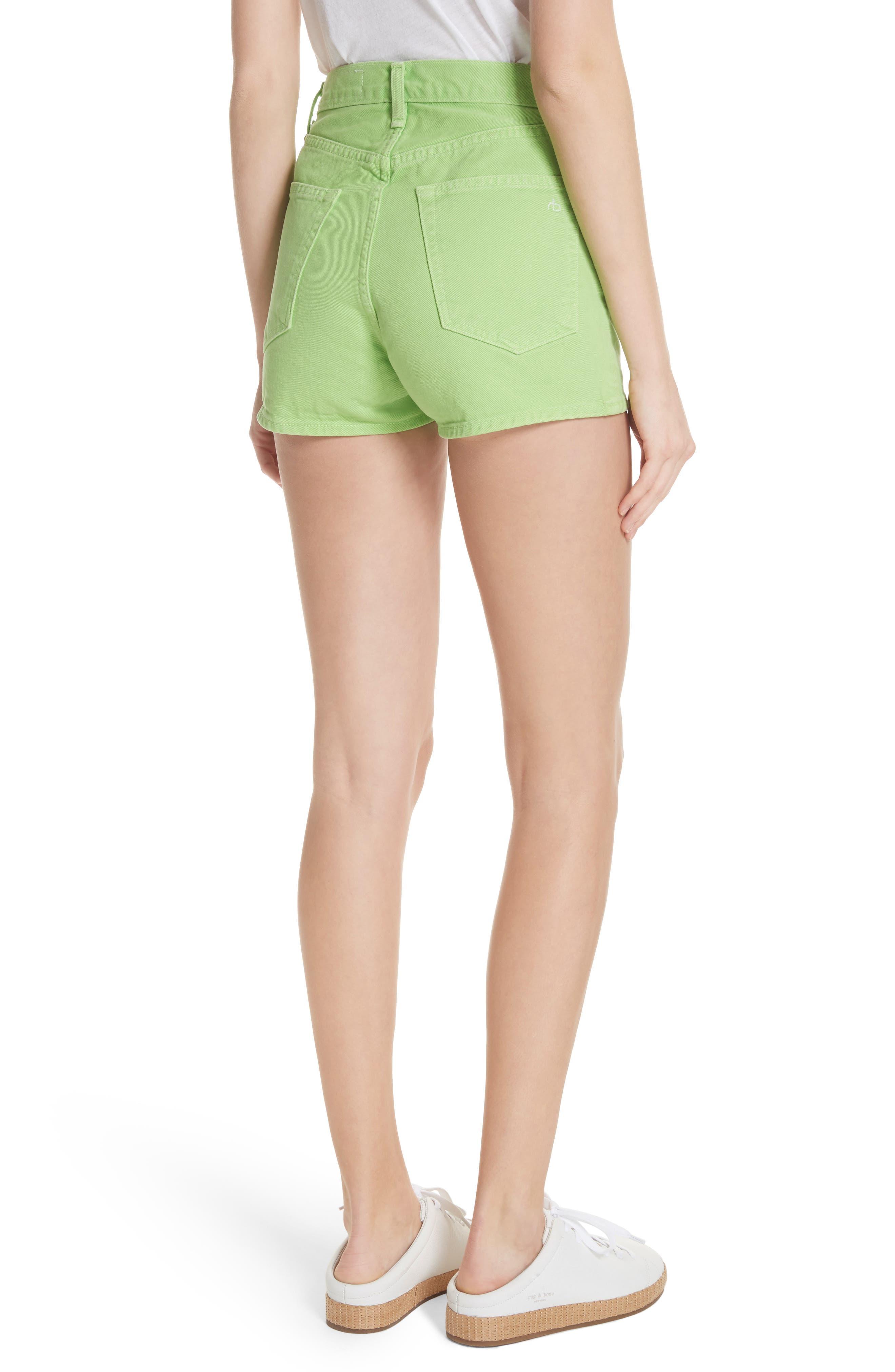 Justine High Waist Denim Shorts,                             Alternate thumbnail 2, color,                             Lime