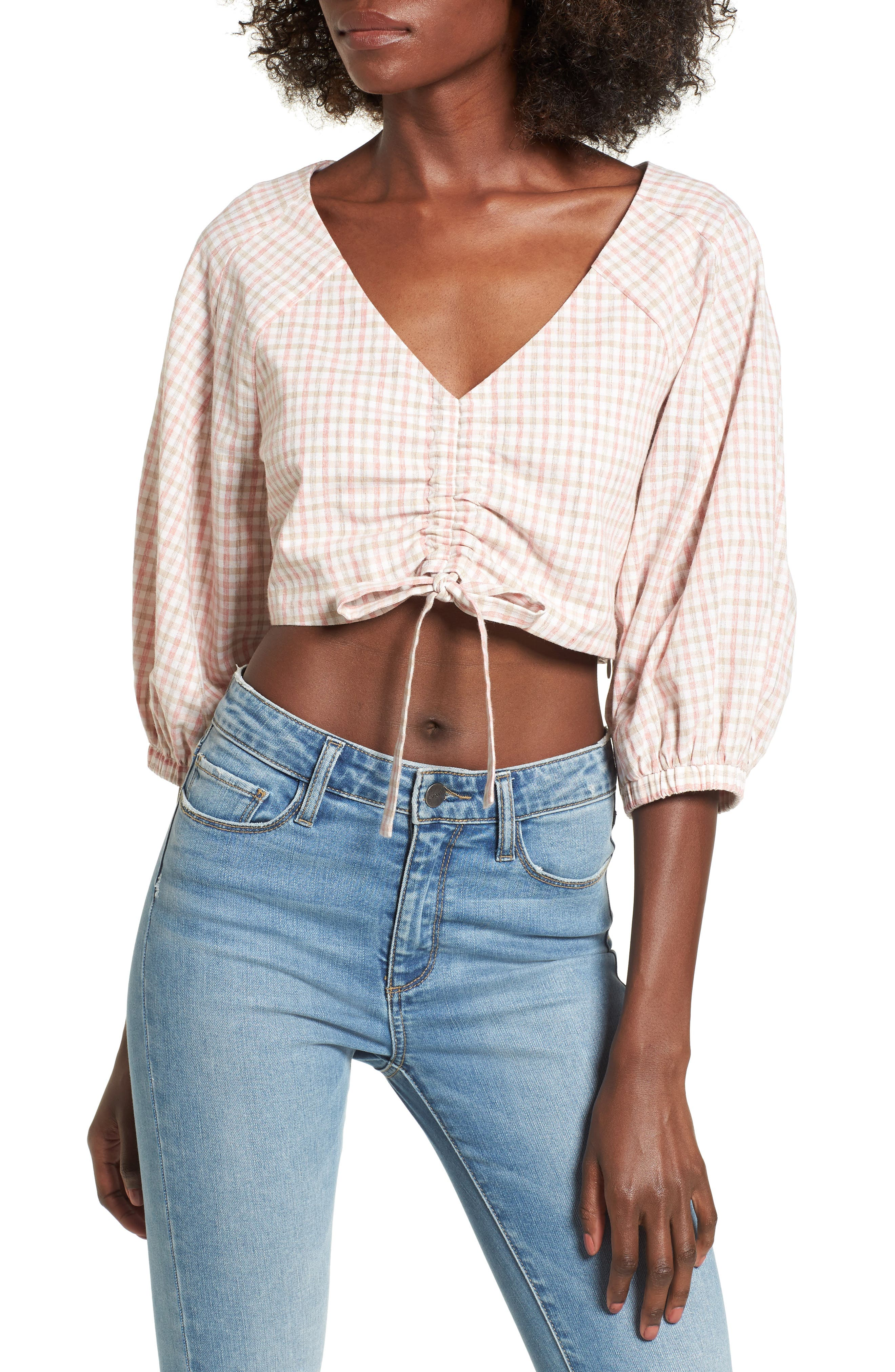Chriselle x J.O.A. Ruched Front Crop Top,                         Main,                         color, Patina Gingham