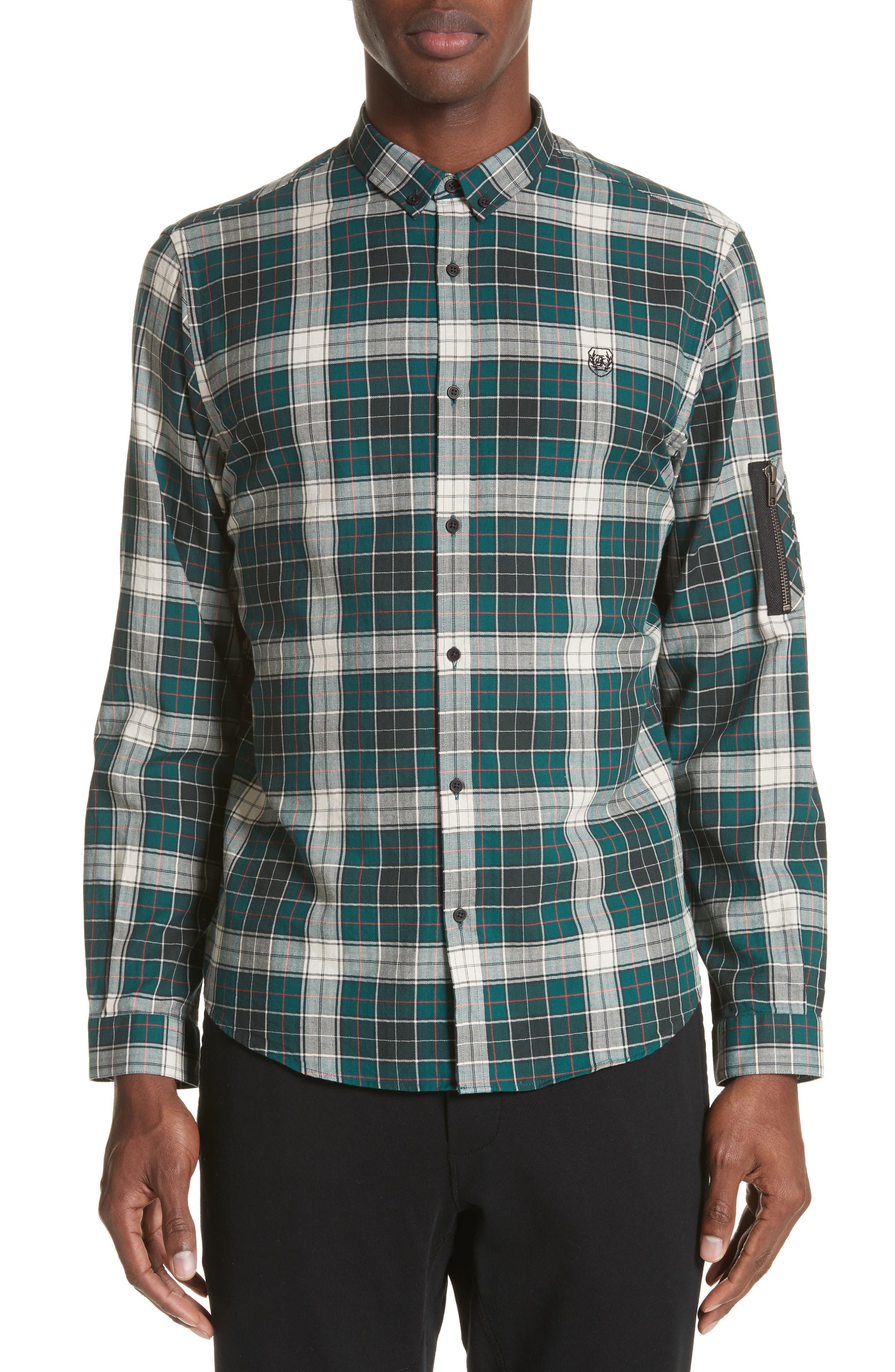 Check Woven Shirt,                         Main,                         color, Green