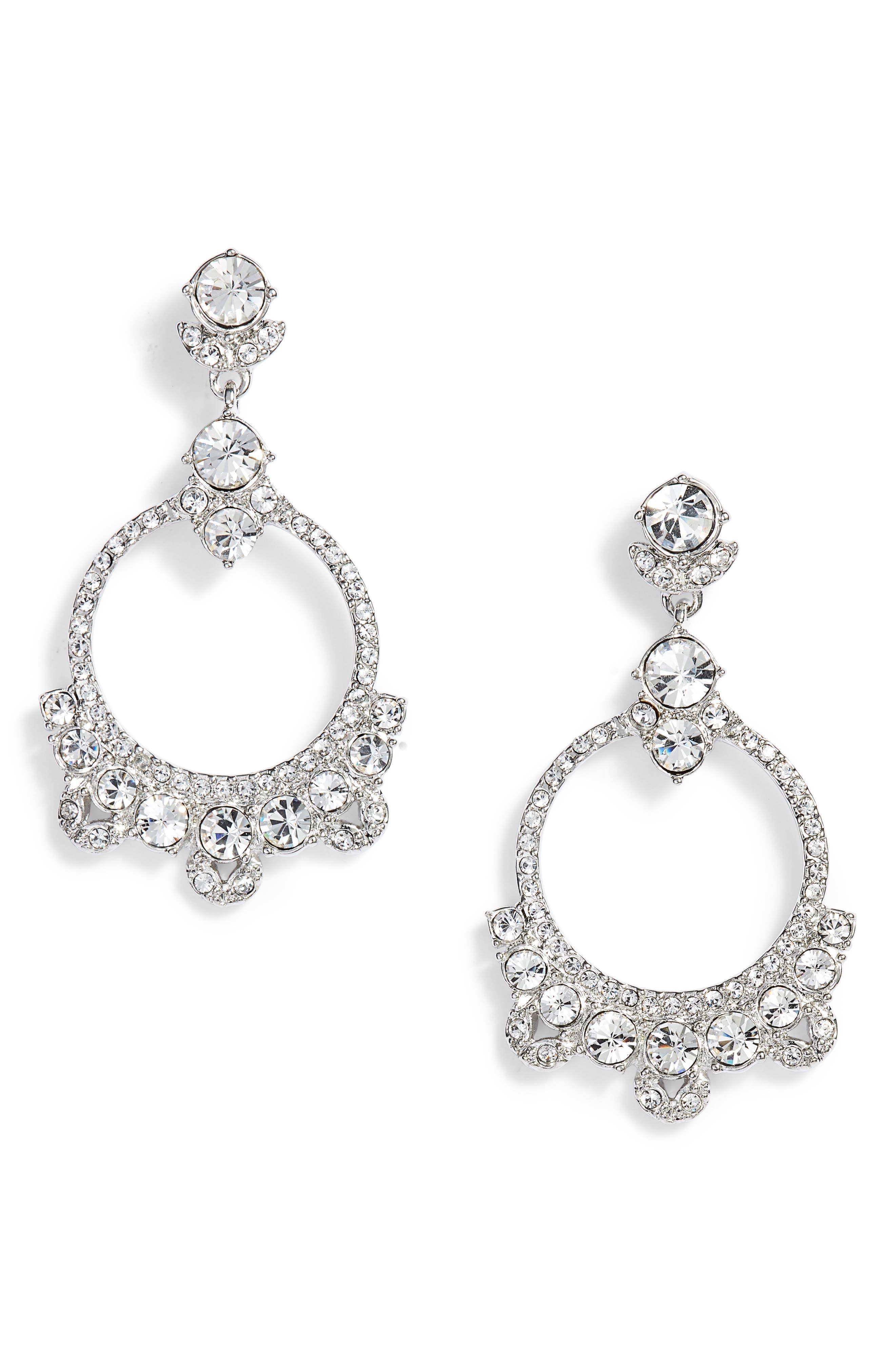 Orbital Drop Earrings,                             Main thumbnail 1, color,                             Silver/ Crystal