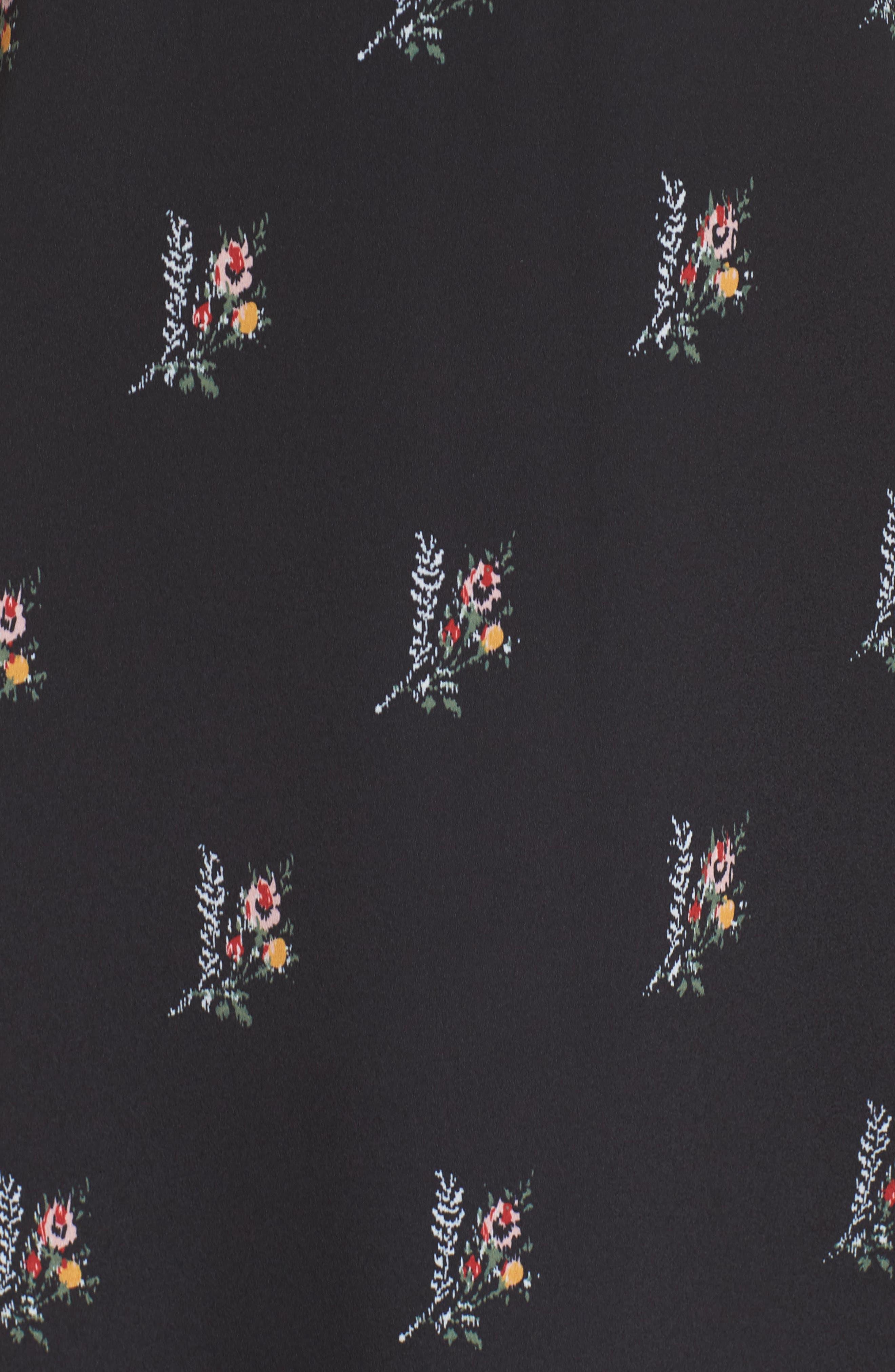 Olessia Ruffle Shift Dress,                             Alternate thumbnail 6, color,                             Black Multi