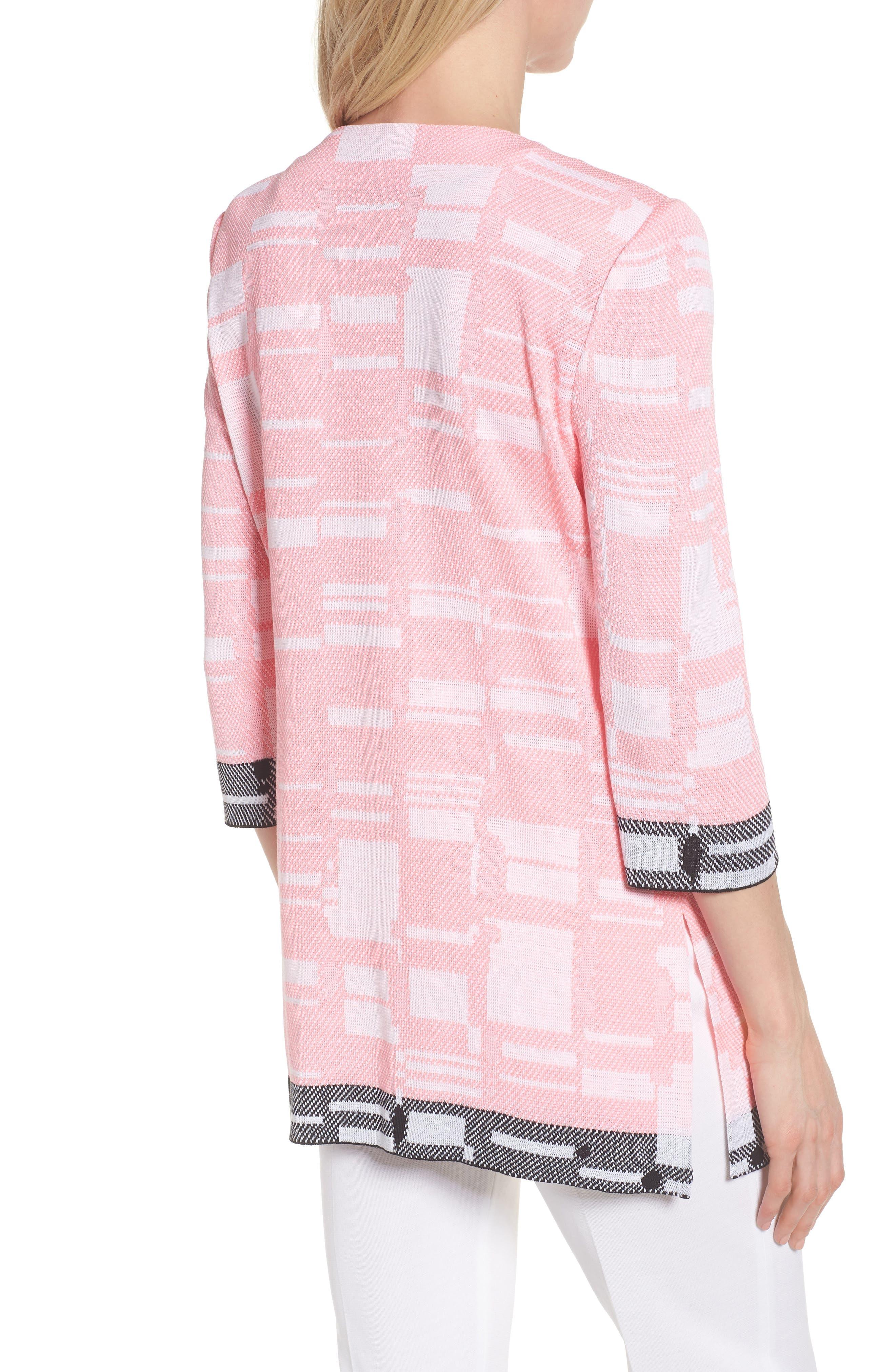 Multi Contrast Pattern Long Jacket,                             Alternate thumbnail 2, color,                             Pink Lemonade/ White/ Black