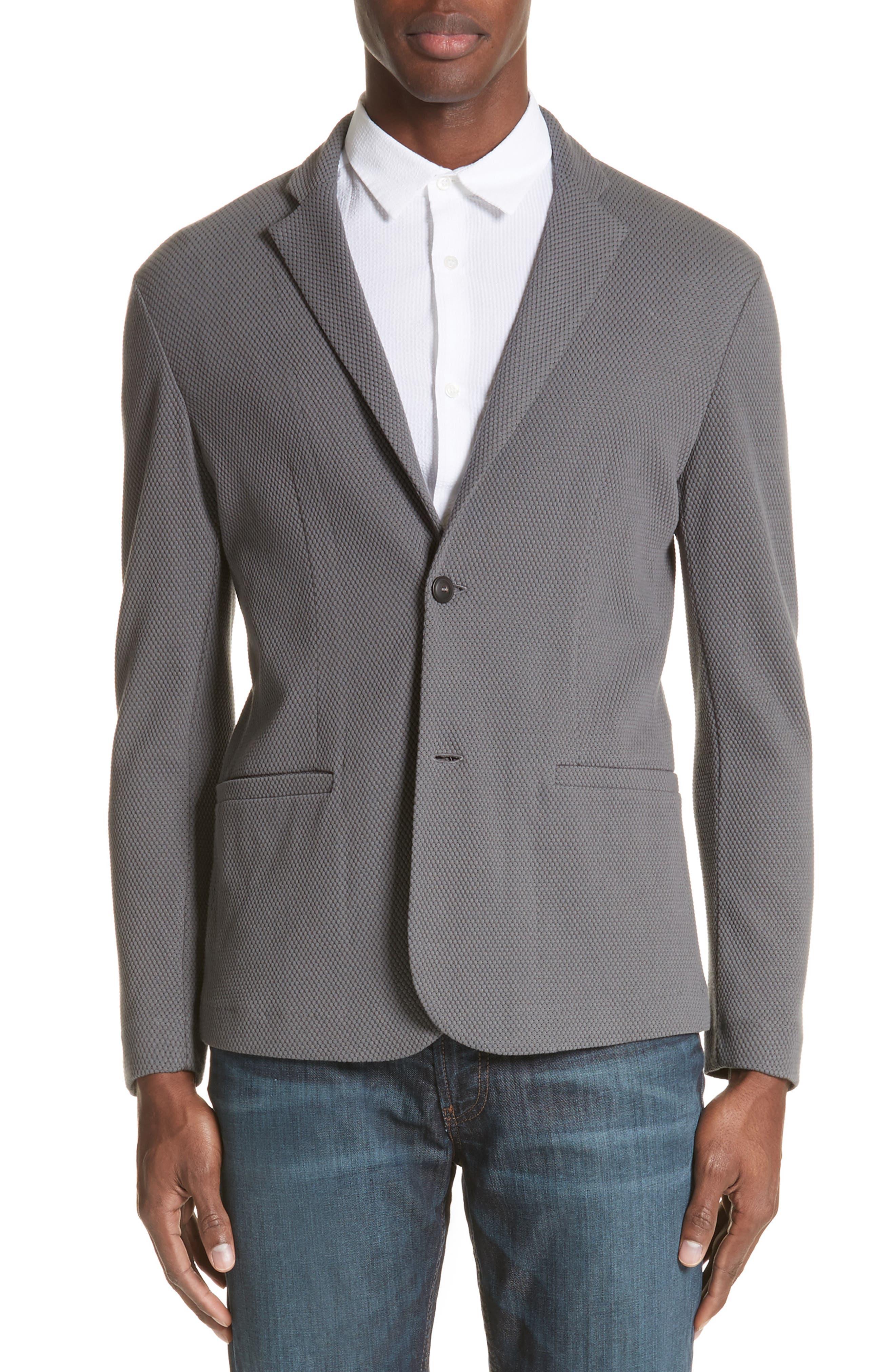 Regular Fit Knit Blazer,                         Main,                         color, Pietra