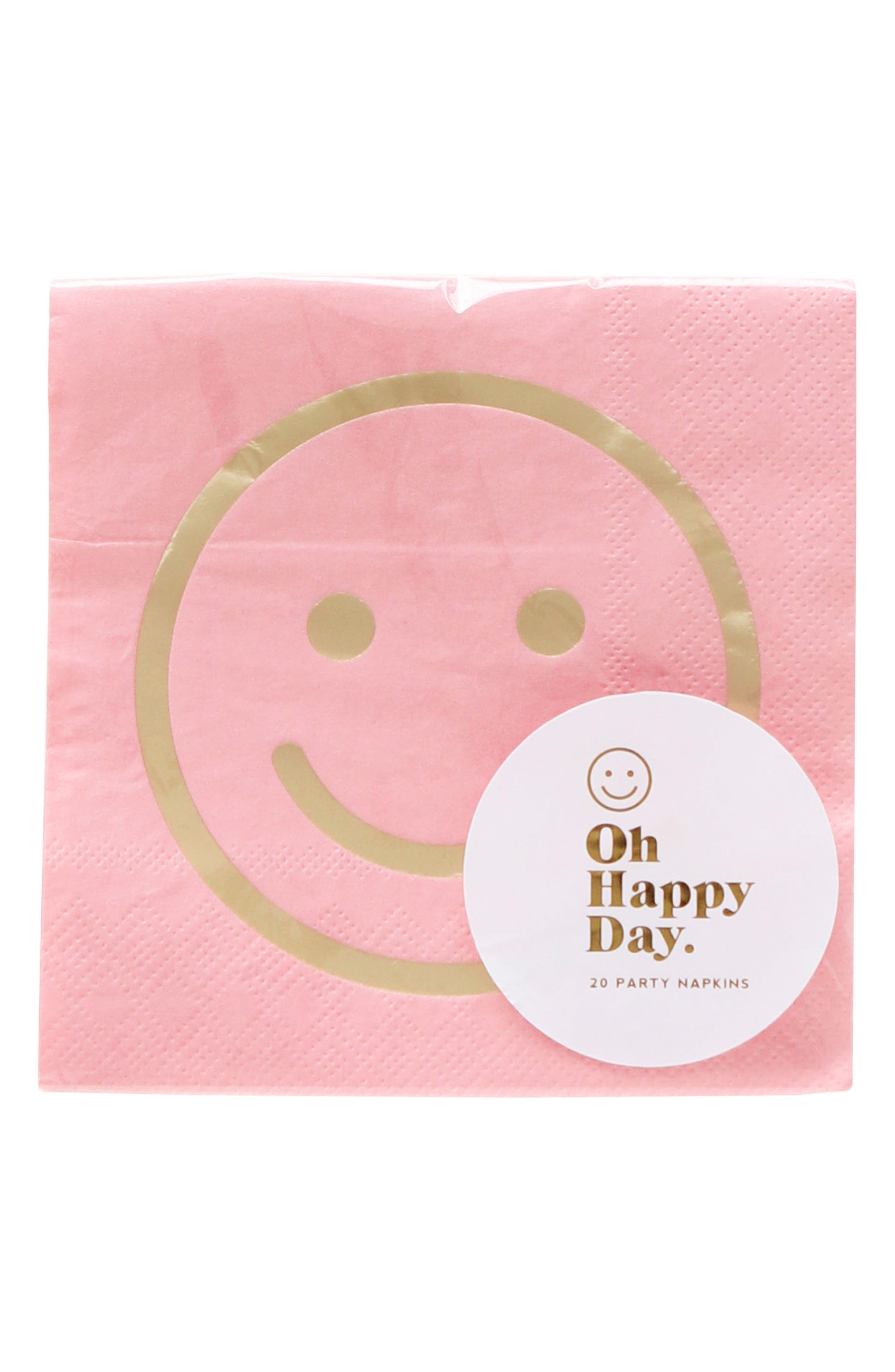 Oh Happy Day Blush Smile Paper Cocktail Napkins