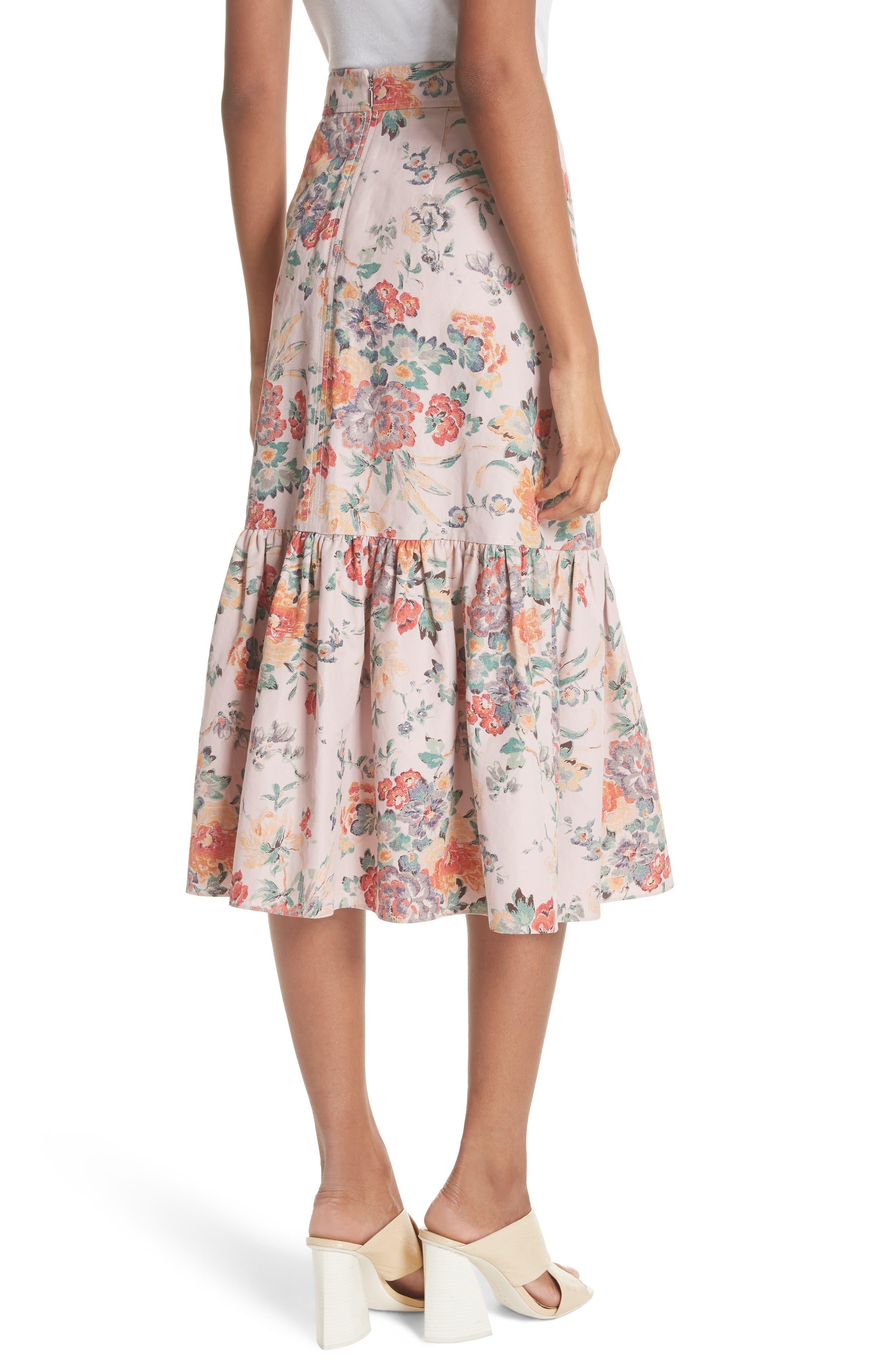 Marlena Ruffled Floral Skirt,                             Alternate thumbnail 2, color,                             Dusty Rose Combo