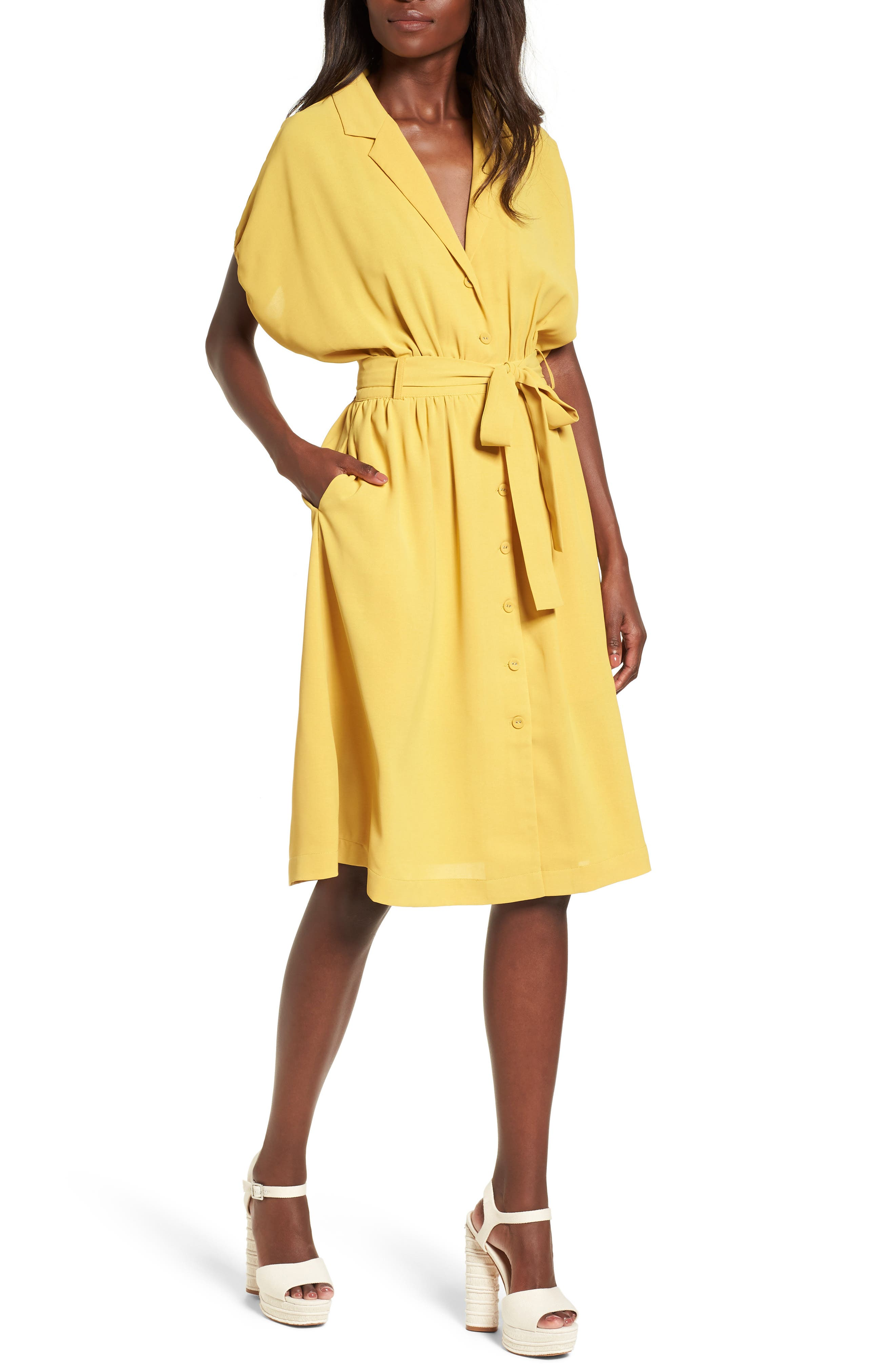 Chriselle x J.O.A. Cocoon Sleeve Dress,                             Main thumbnail 1, color,                             Roman Gold