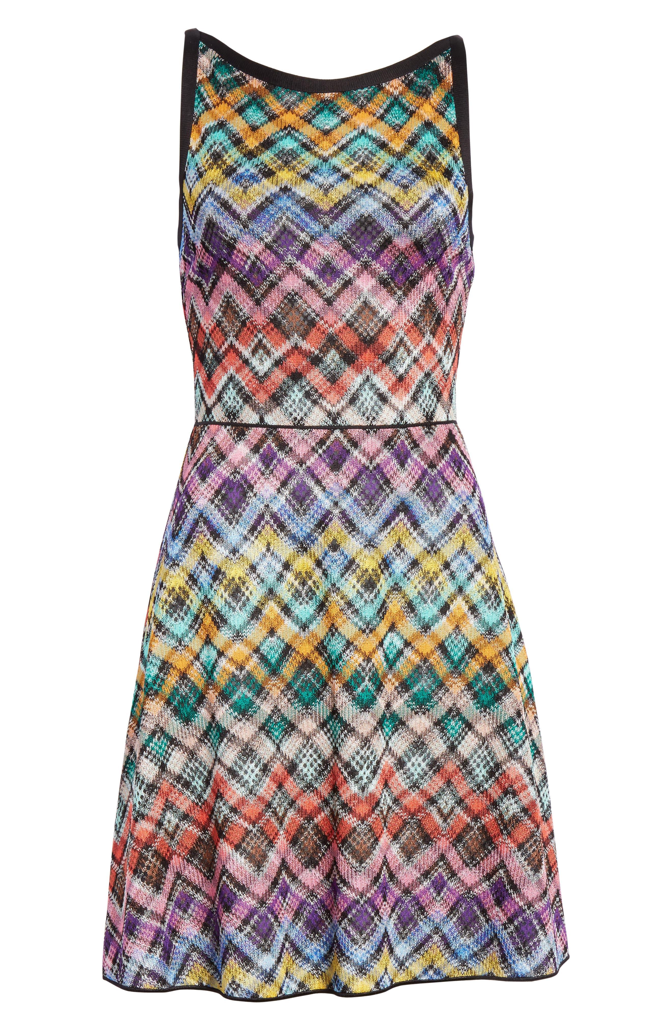 Plaid Knit Fit & Flare Dress,                             Alternate thumbnail 6, color,                             Multi
