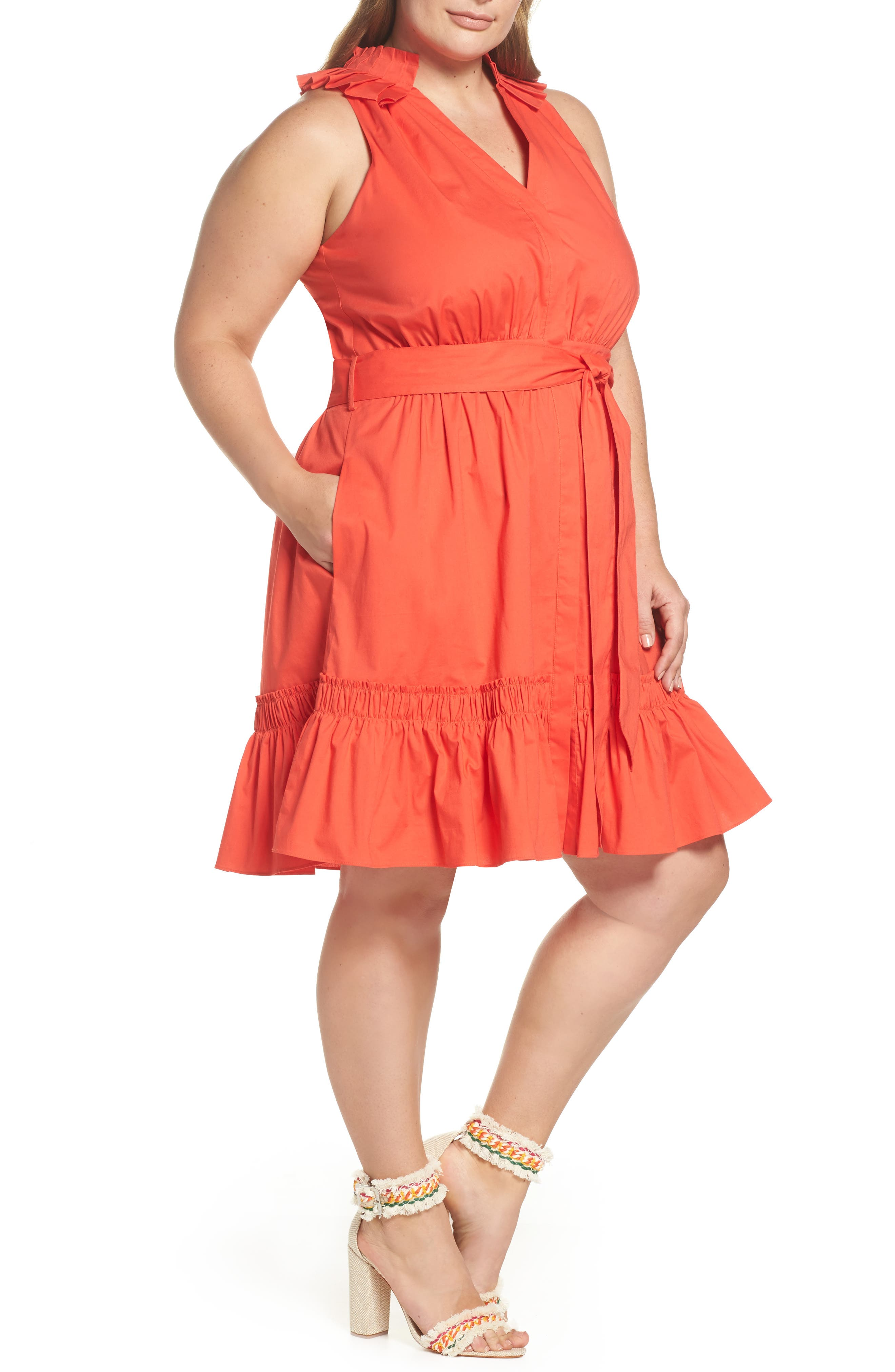 Pleat Collar Fit & Flare Dress,                             Alternate thumbnail 4, color,                             Red Bloom