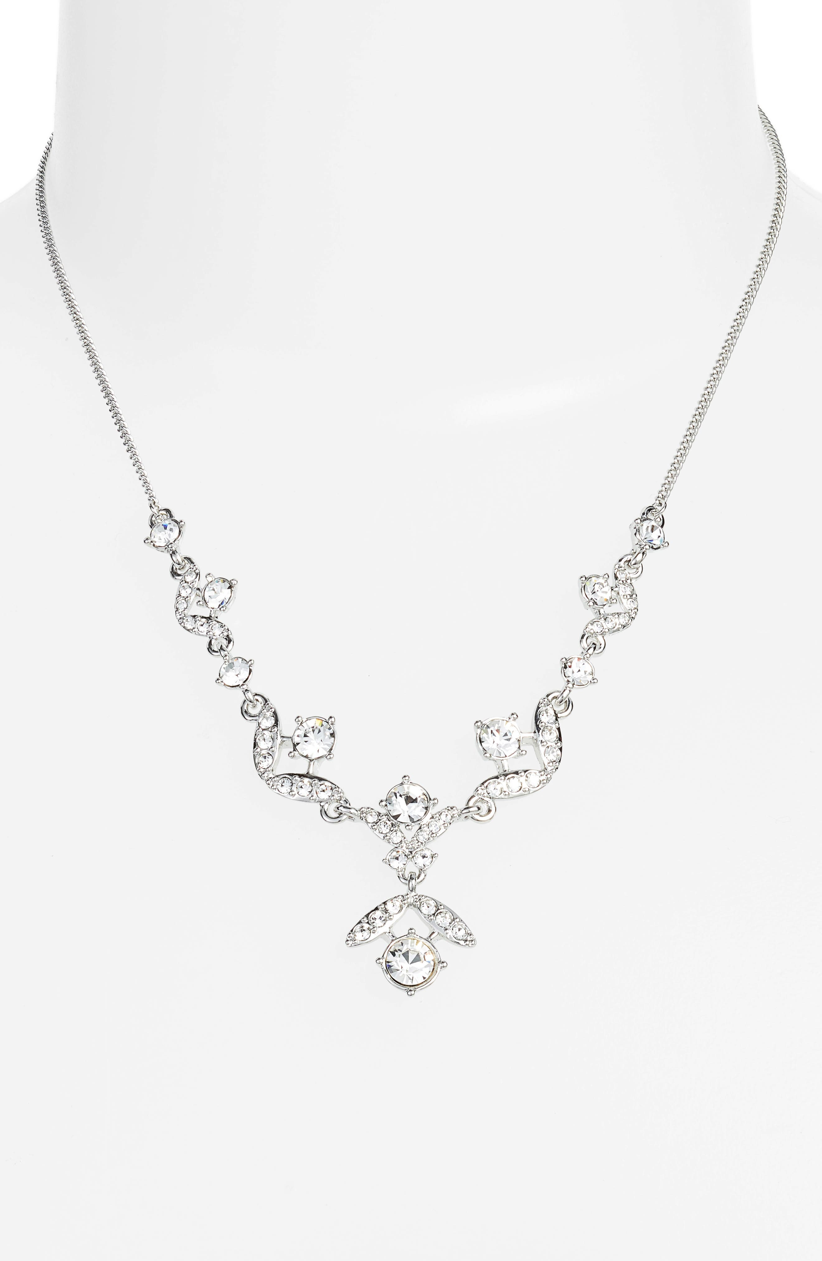 Crystal Necklace,                             Main thumbnail 1, color,                             Silver/ Crystal