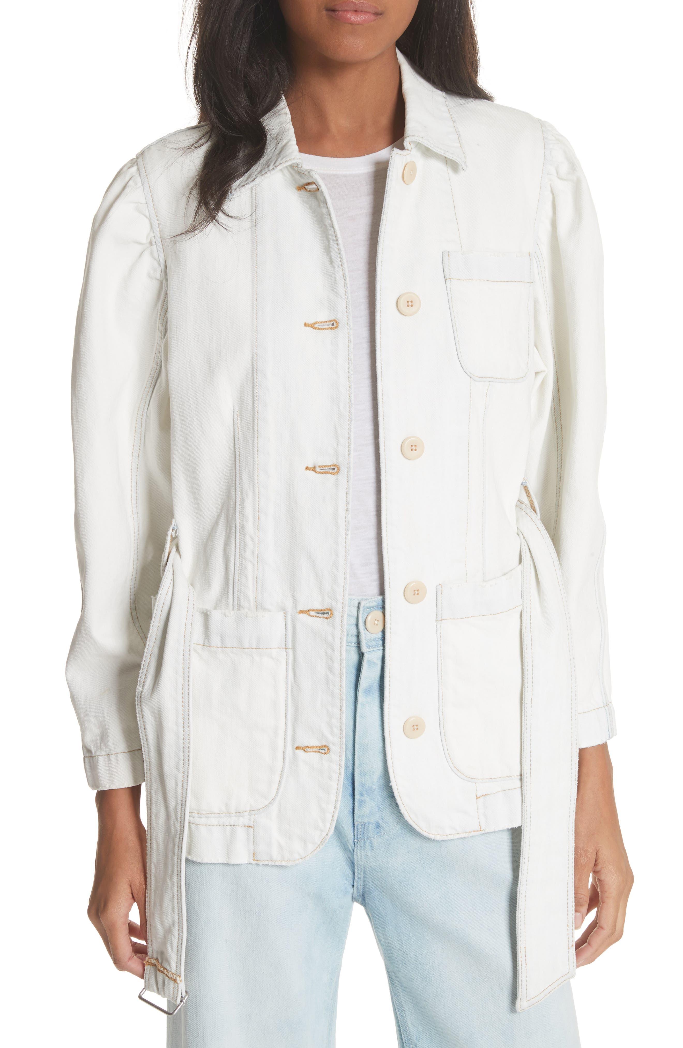 Belted Denim Jacket,                             Main thumbnail 1, color,                             Whiteout Wash