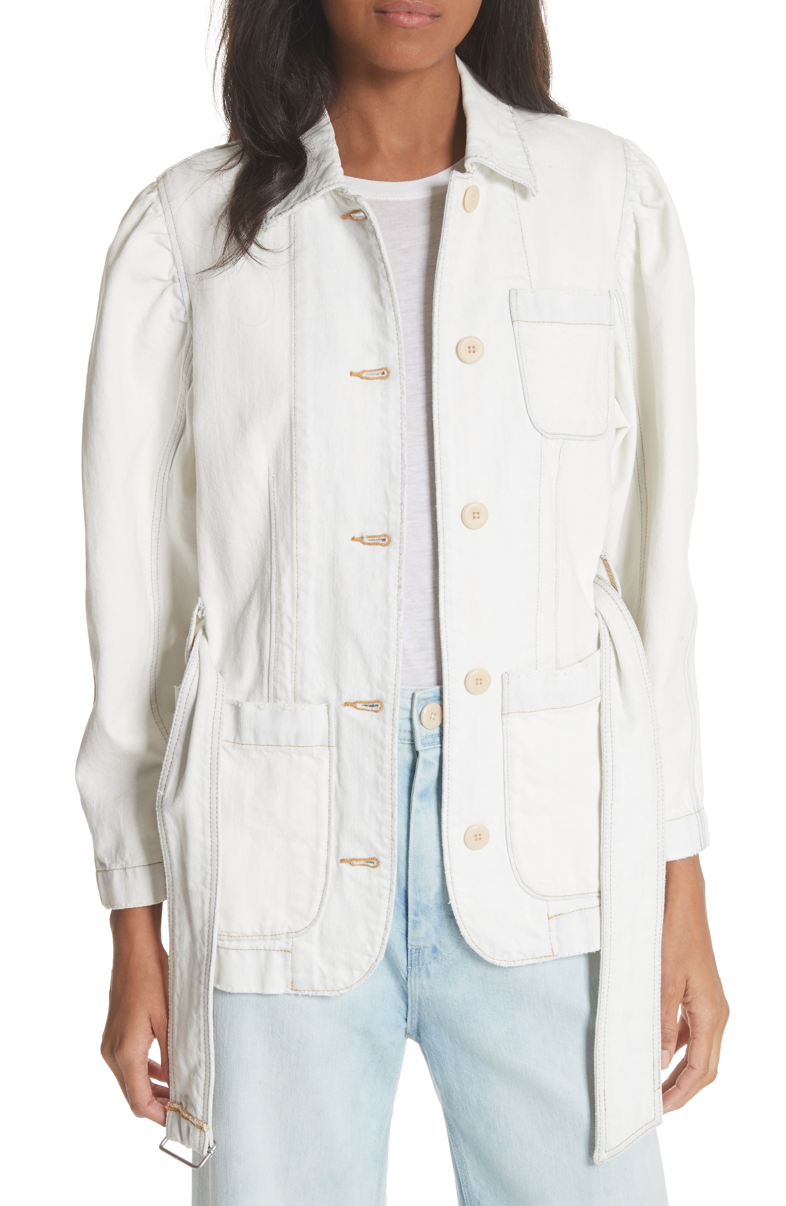 Belted Denim Jacket,                         Main,                         color, Whiteout Wash