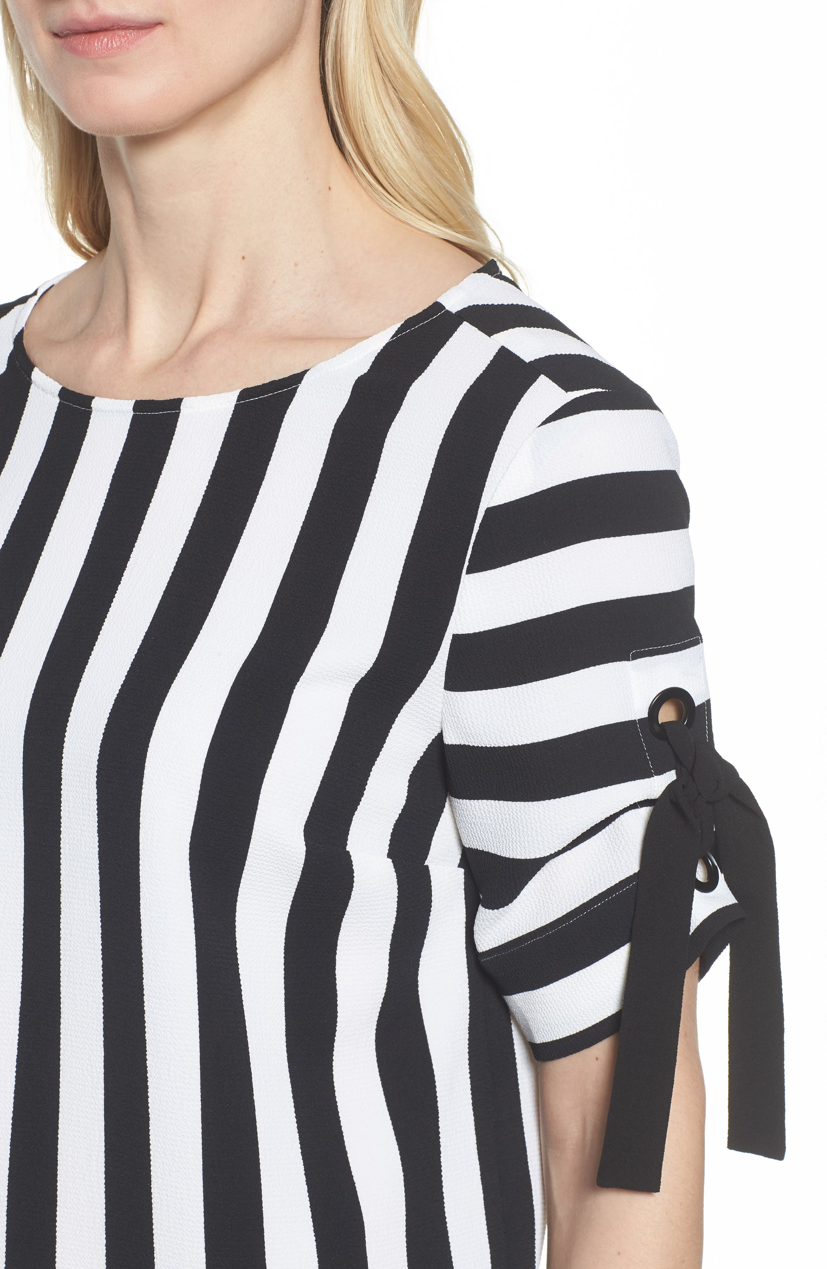 Spectator Stripe Tie Cuff Blouse,                             Alternate thumbnail 6, color,                             Rich Black