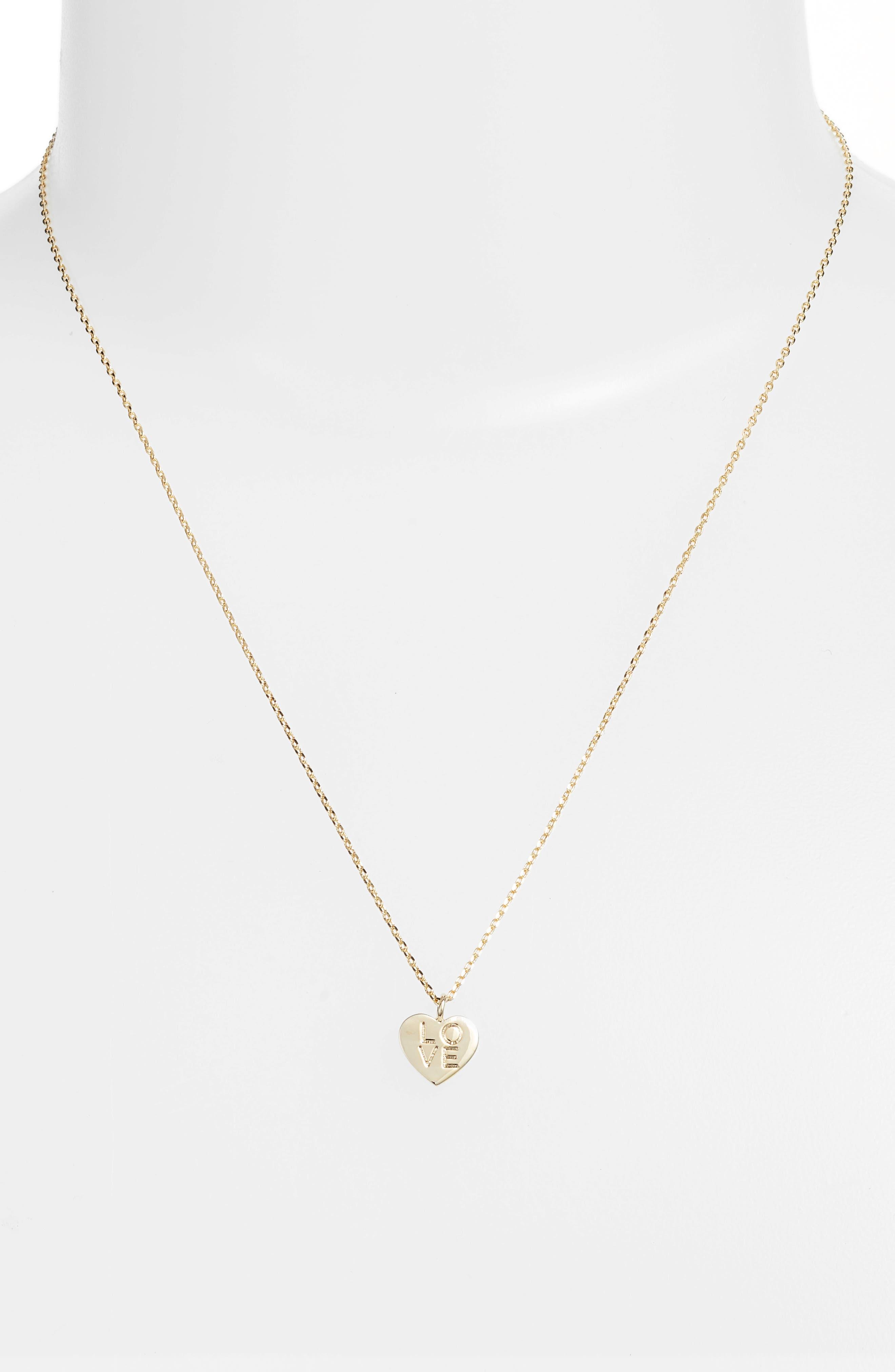 Love Letter Heart Necklace,                             Alternate thumbnail 2, color,                             Gold