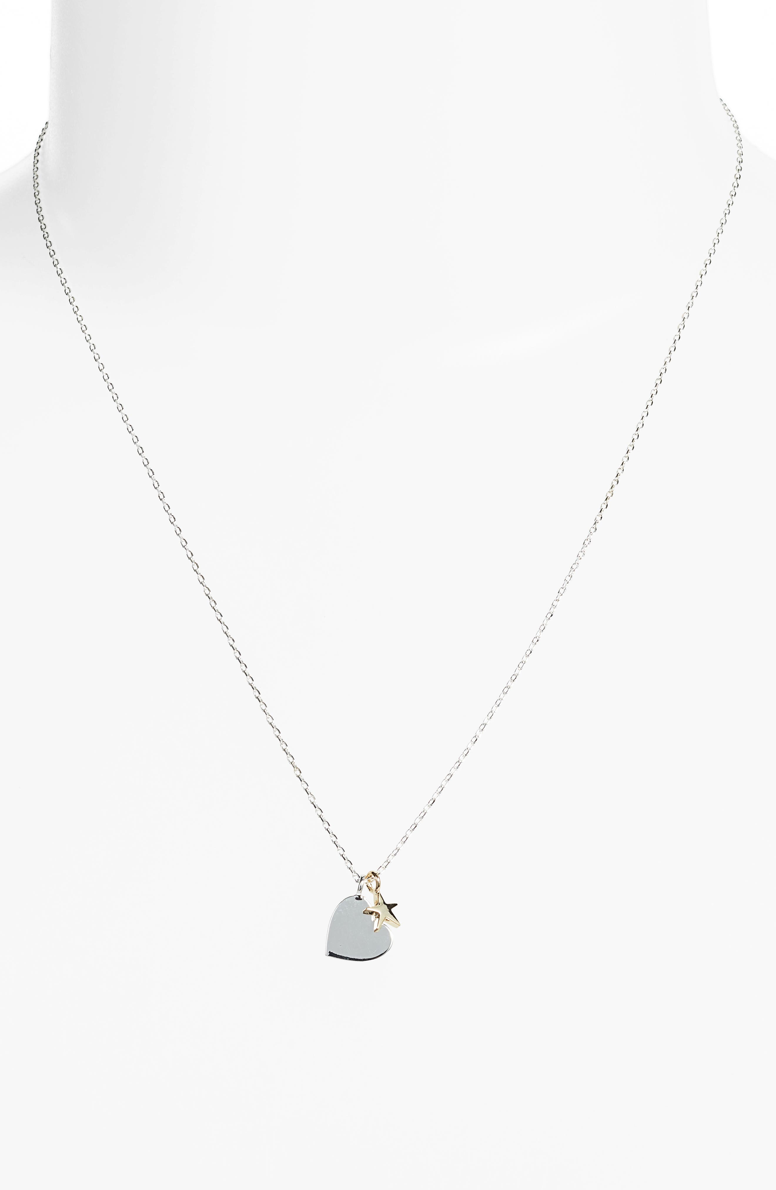 Heart Double Charm Necklace,                             Alternate thumbnail 2, color,                             Silver/ Gold