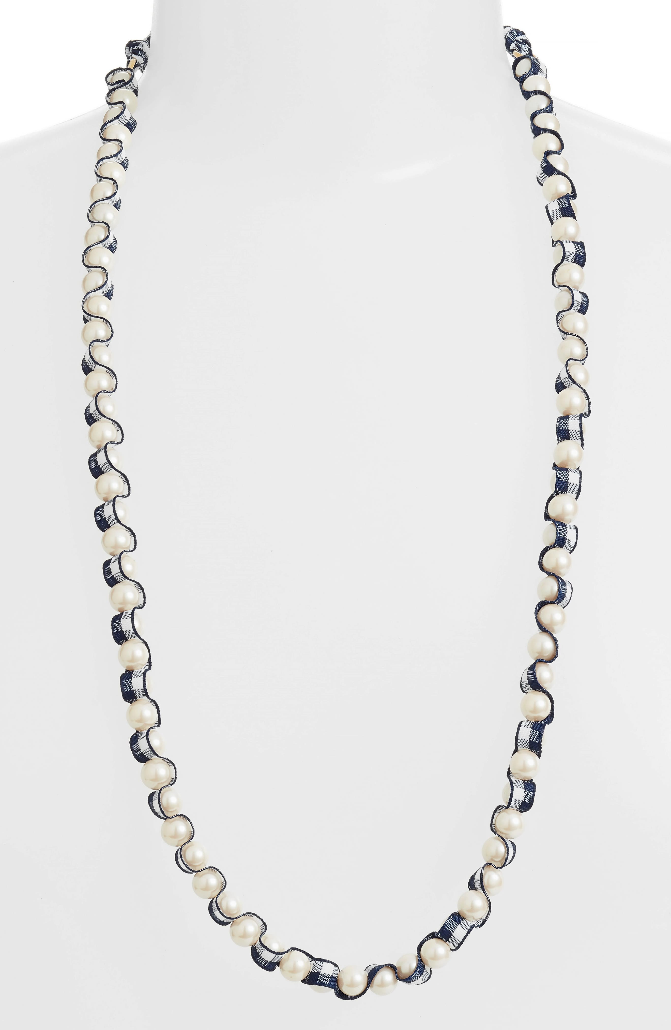 pretty pearly necklace,                         Main,                         color, Navy Multi