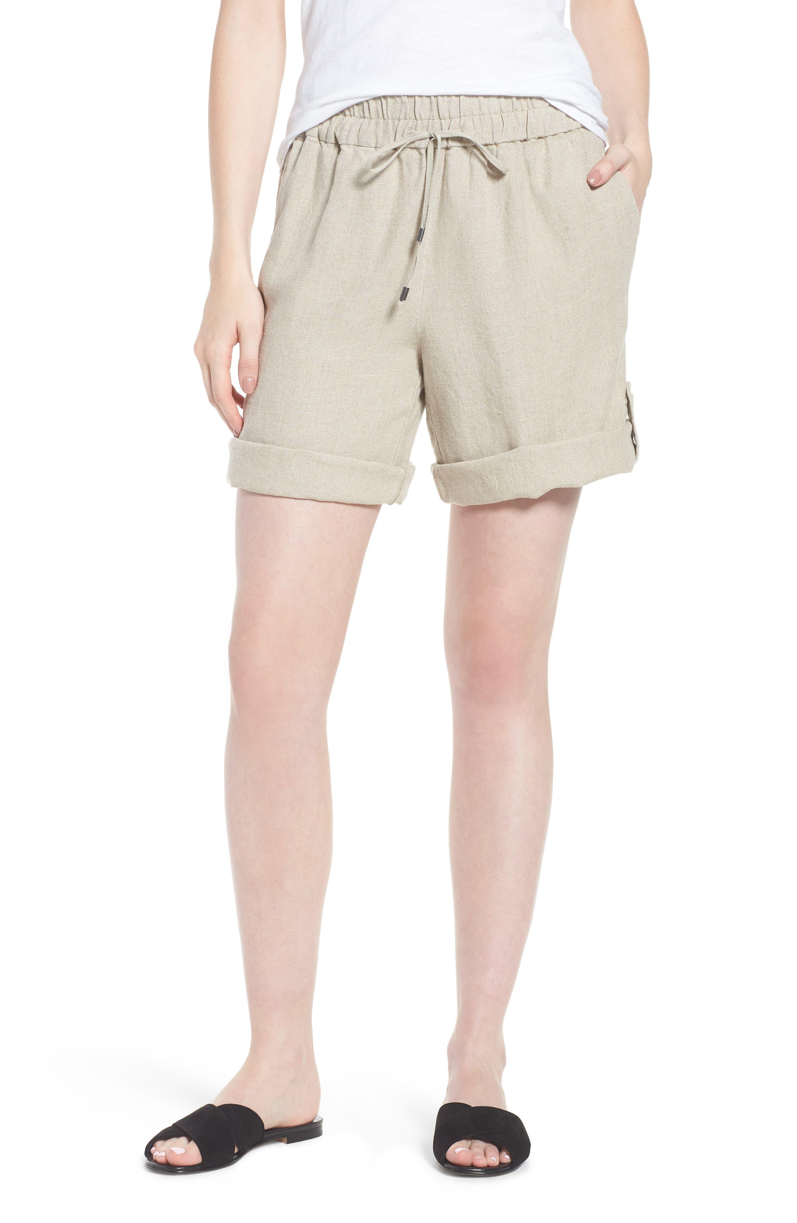Rolled Organic Linen Shorts,                             Main thumbnail 1, color,                             Undyed Natural