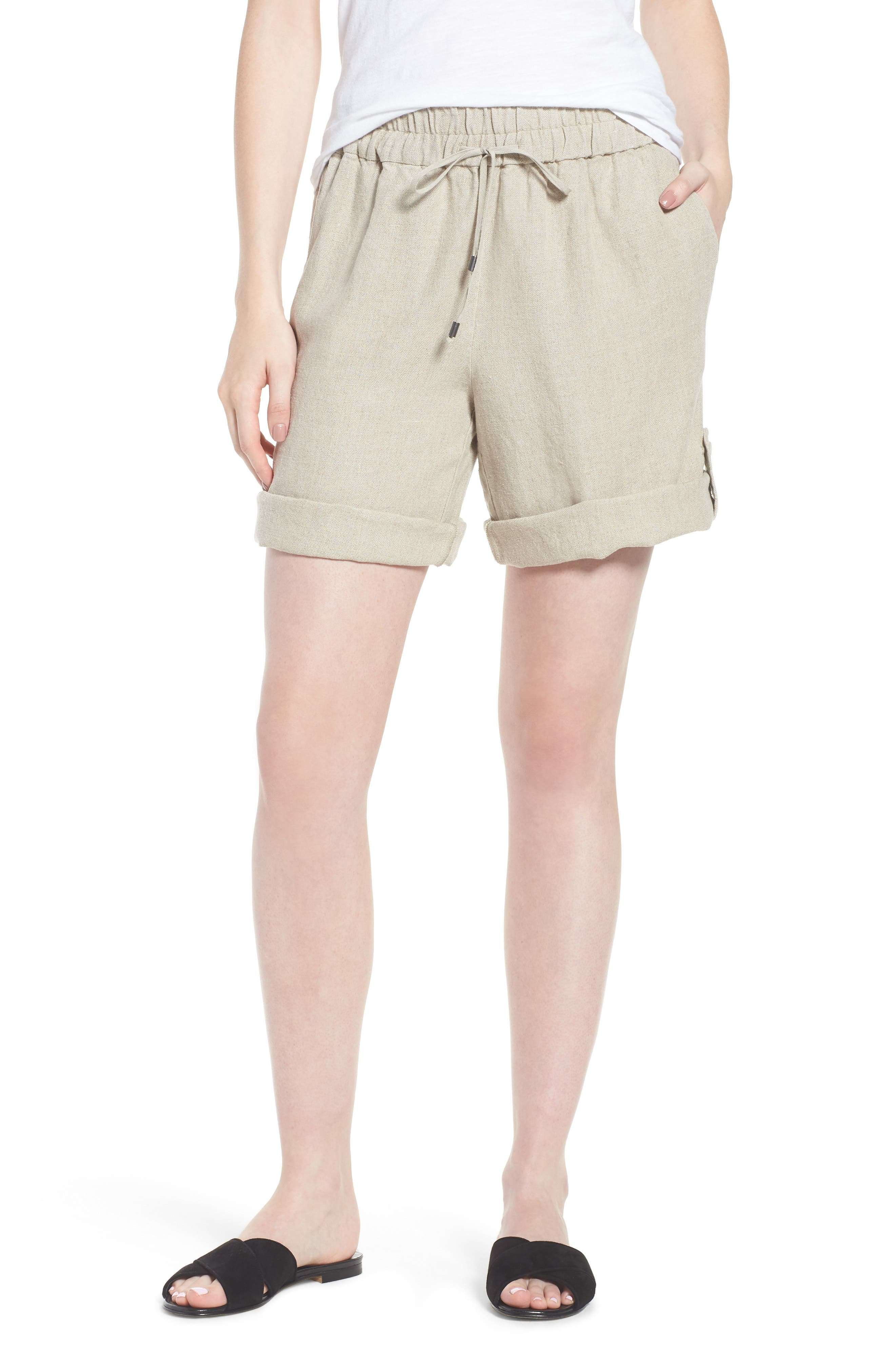 Rolled Organic Linen Shorts,                         Main,                         color, Undyed Natural