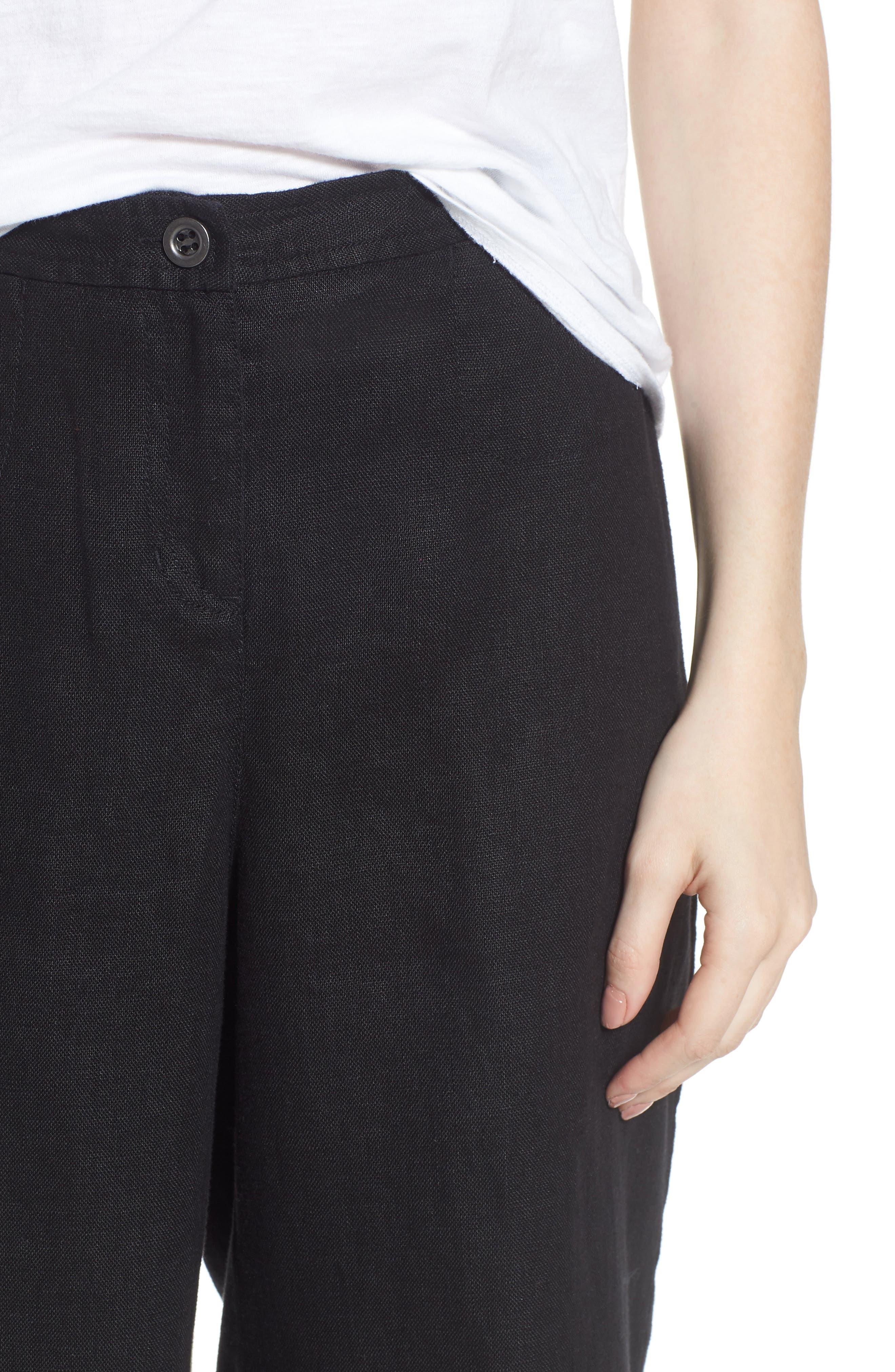 Wide Leg Organic Linen Pants,                             Alternate thumbnail 4, color,                             Black