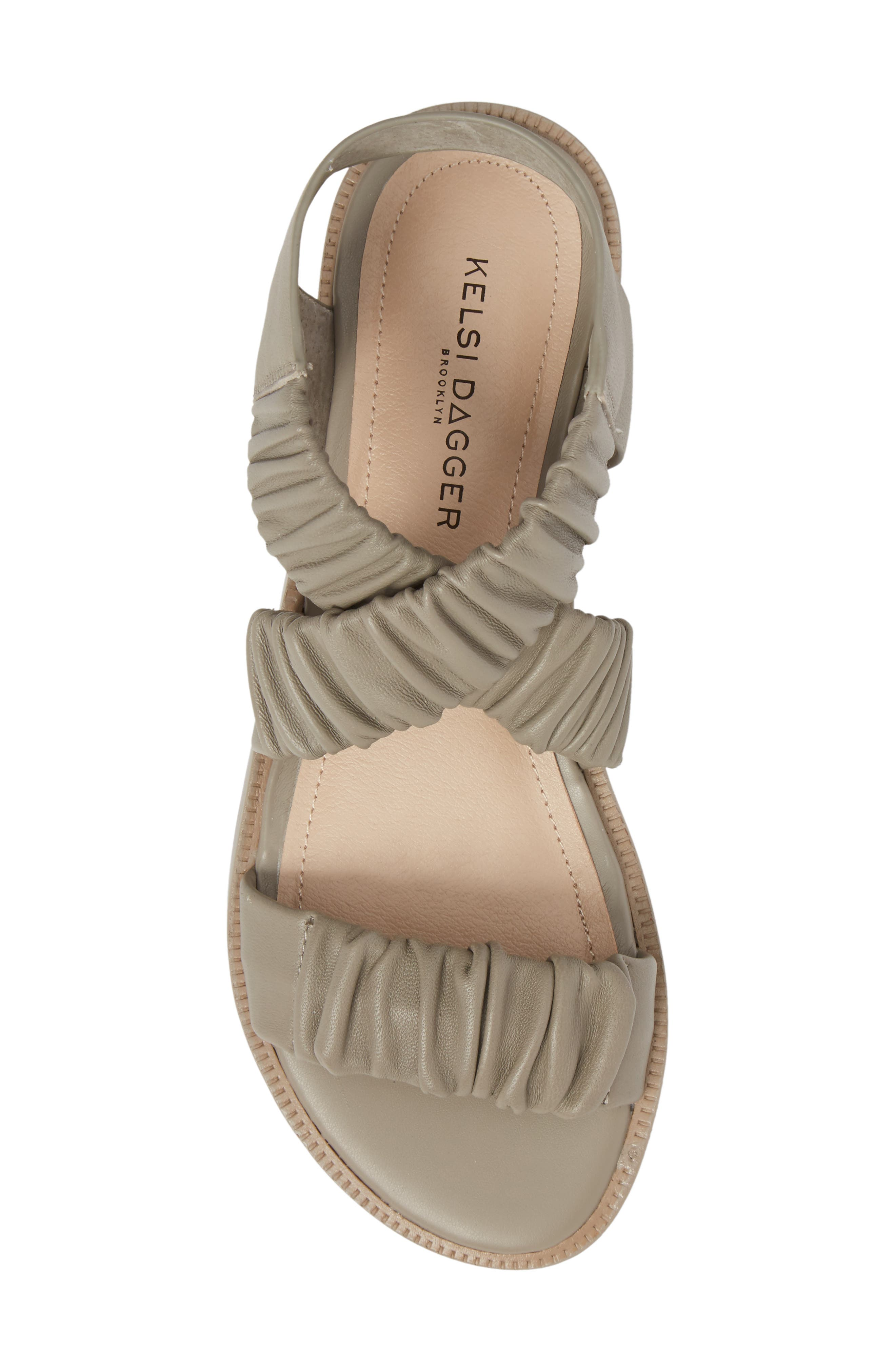 Ryder Pleated Flat Sandal,                             Alternate thumbnail 5, color,                             Clove Leather