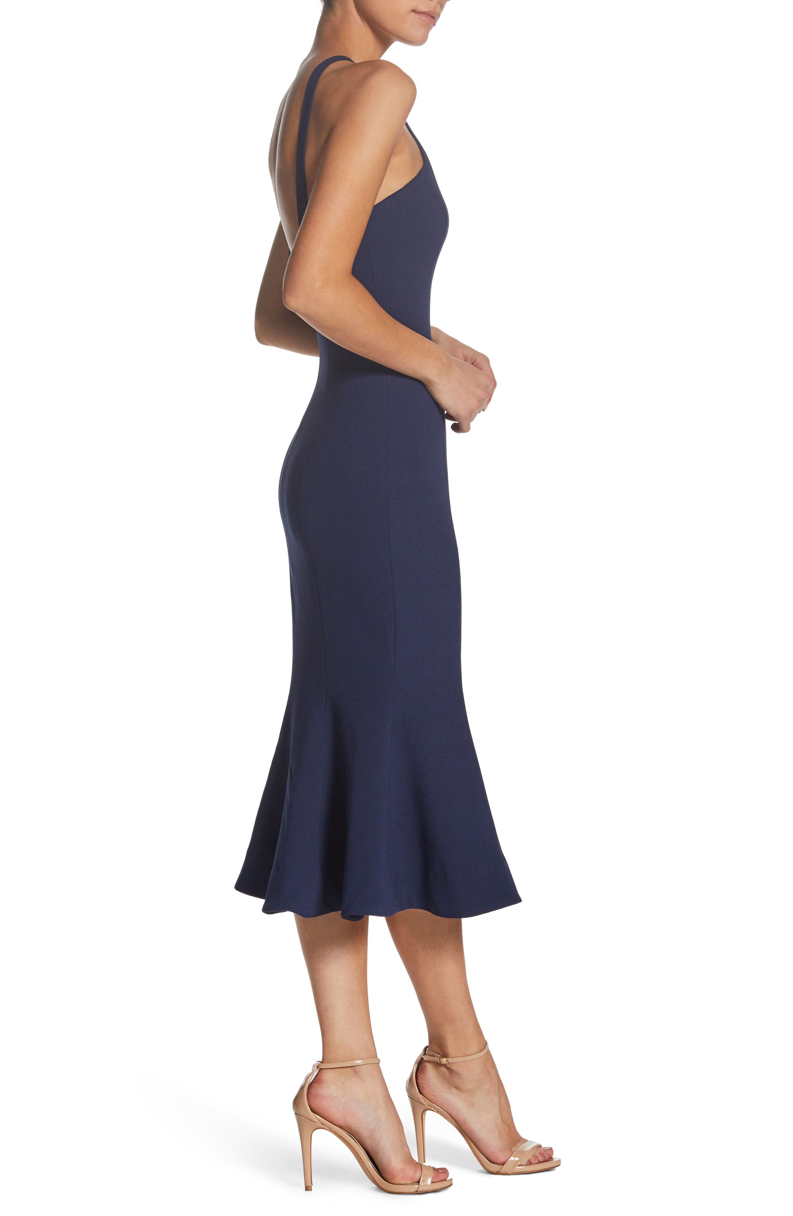 Tessa Crepe Mermaid Dress,                             Alternate thumbnail 3, color,                             Navy