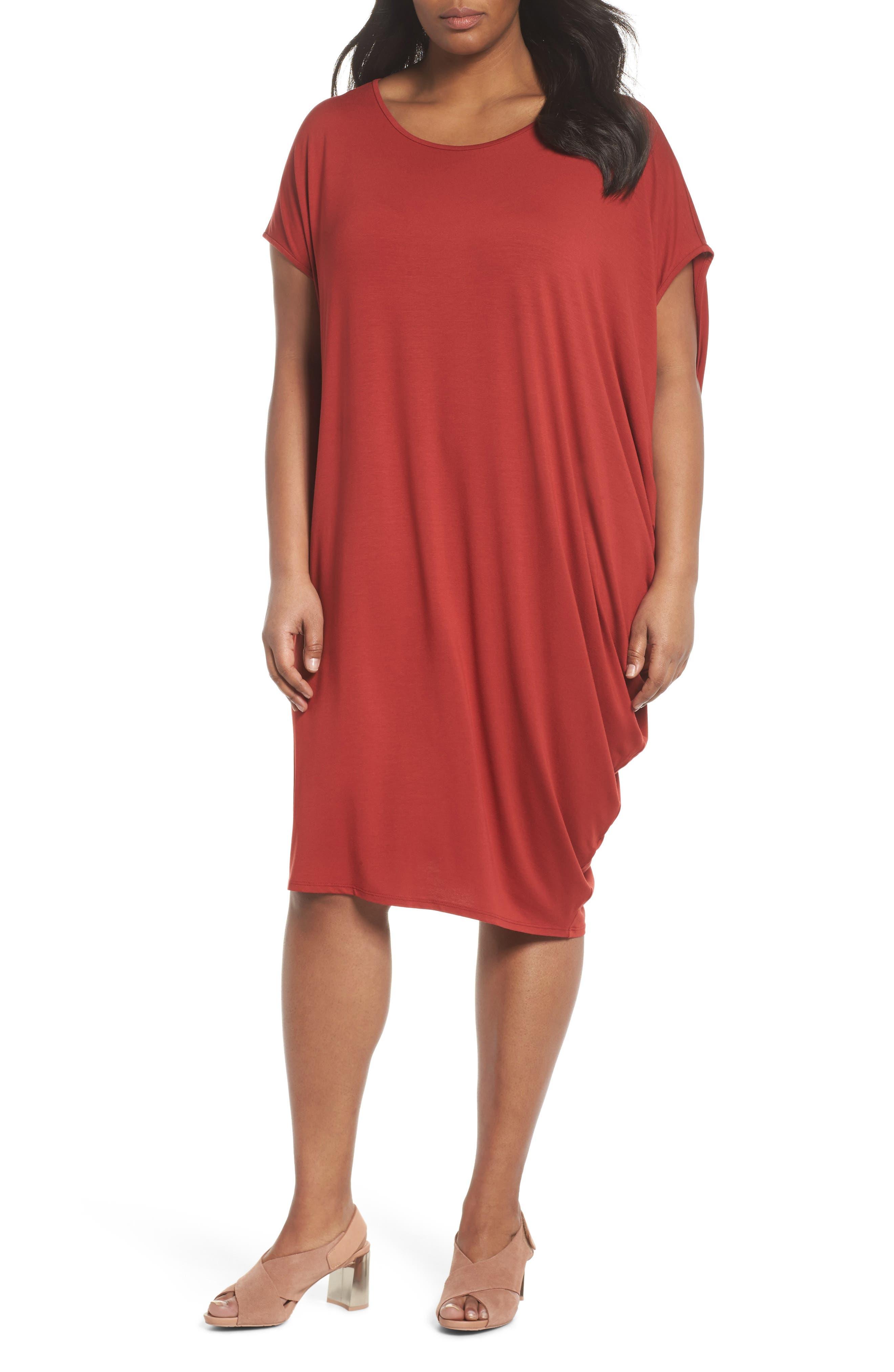 Eileen Fisher Asymmetrical Drape Jersey Dress (Plus Size)