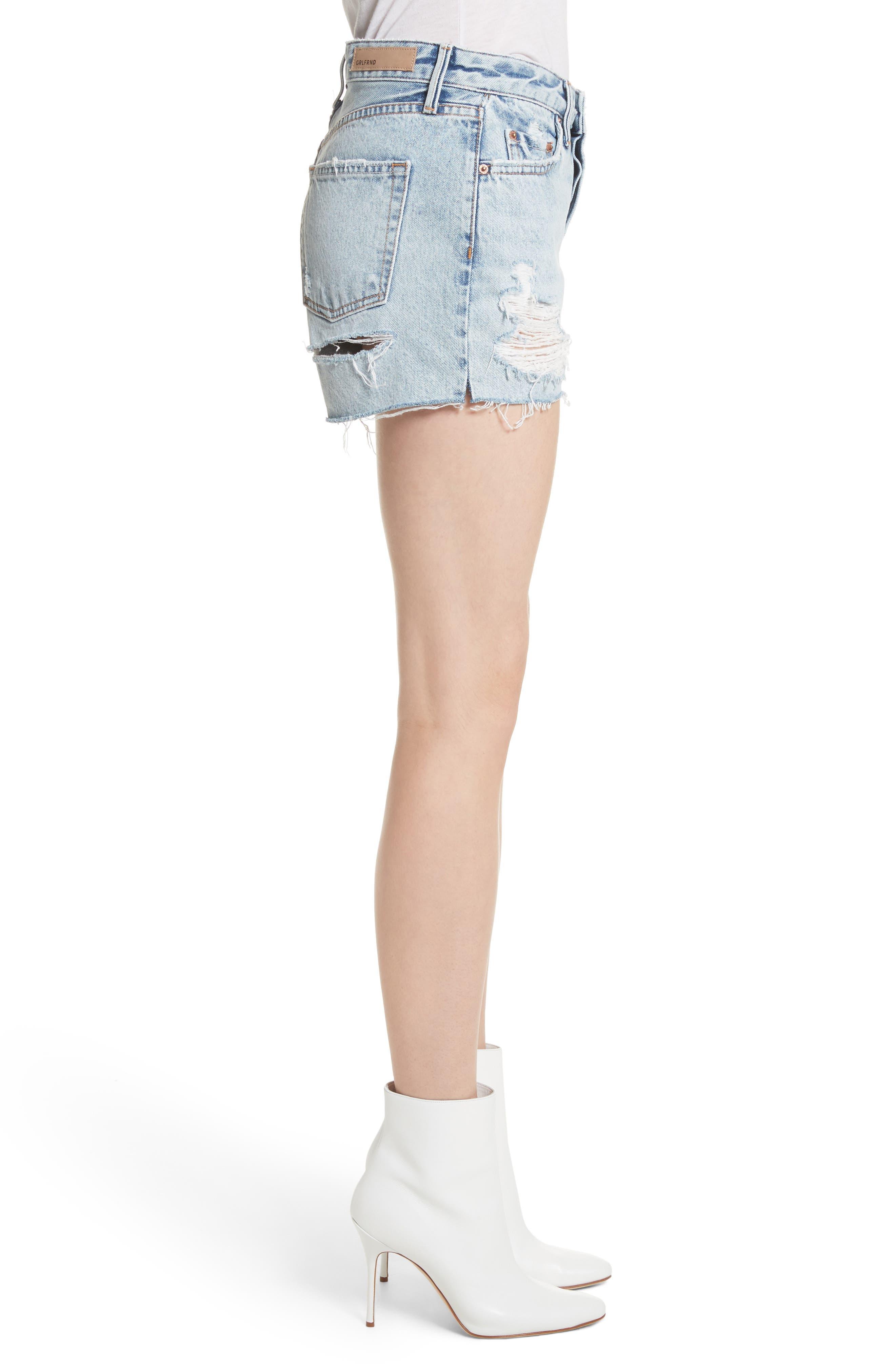 Helena Ripped Denim Shorts,                             Alternate thumbnail 3, color,                             Acetone