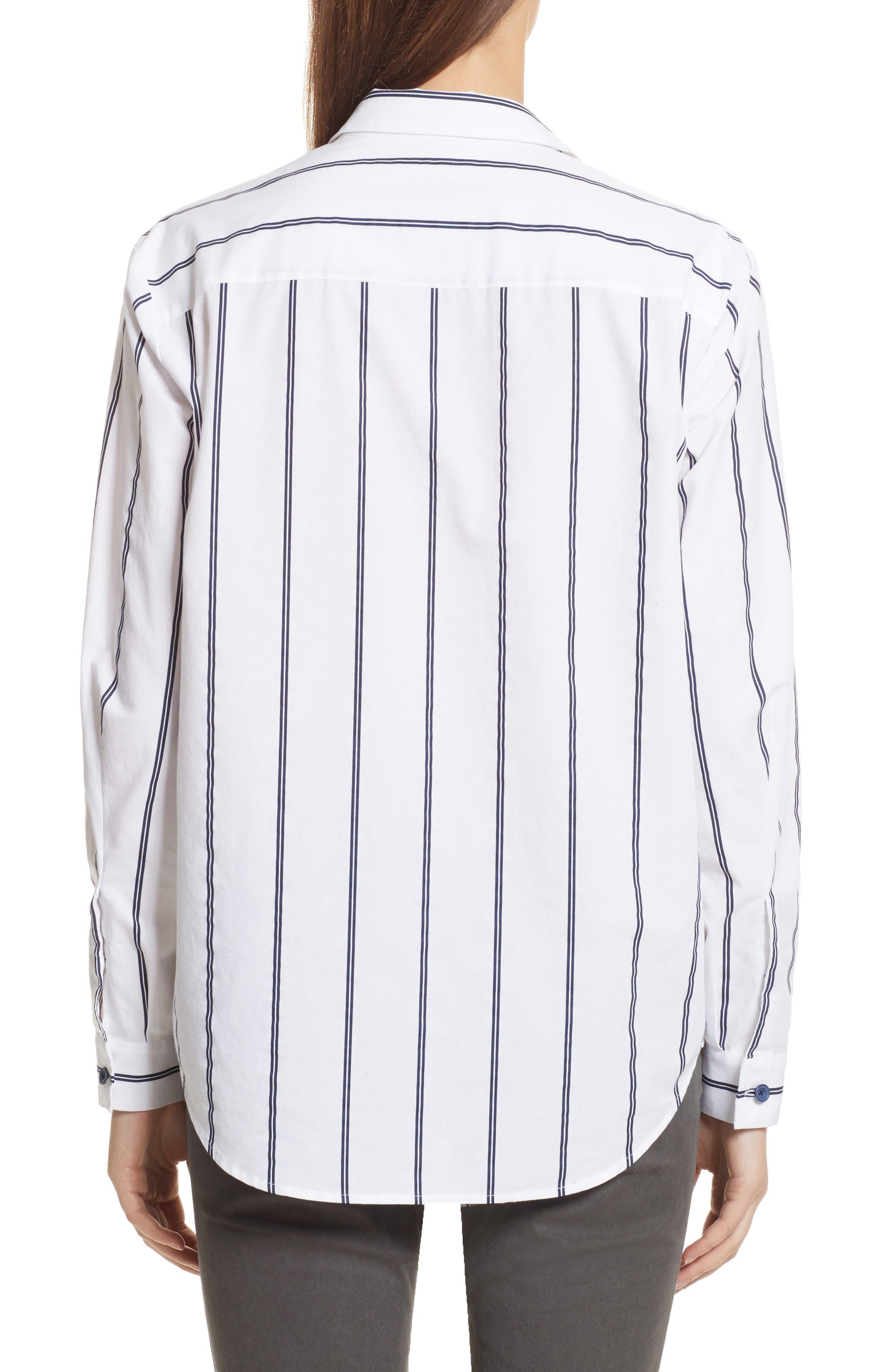 Railroad Stripe Boyfriend Shirt,                             Alternate thumbnail 2, color,                             White/ Midnight Stripe