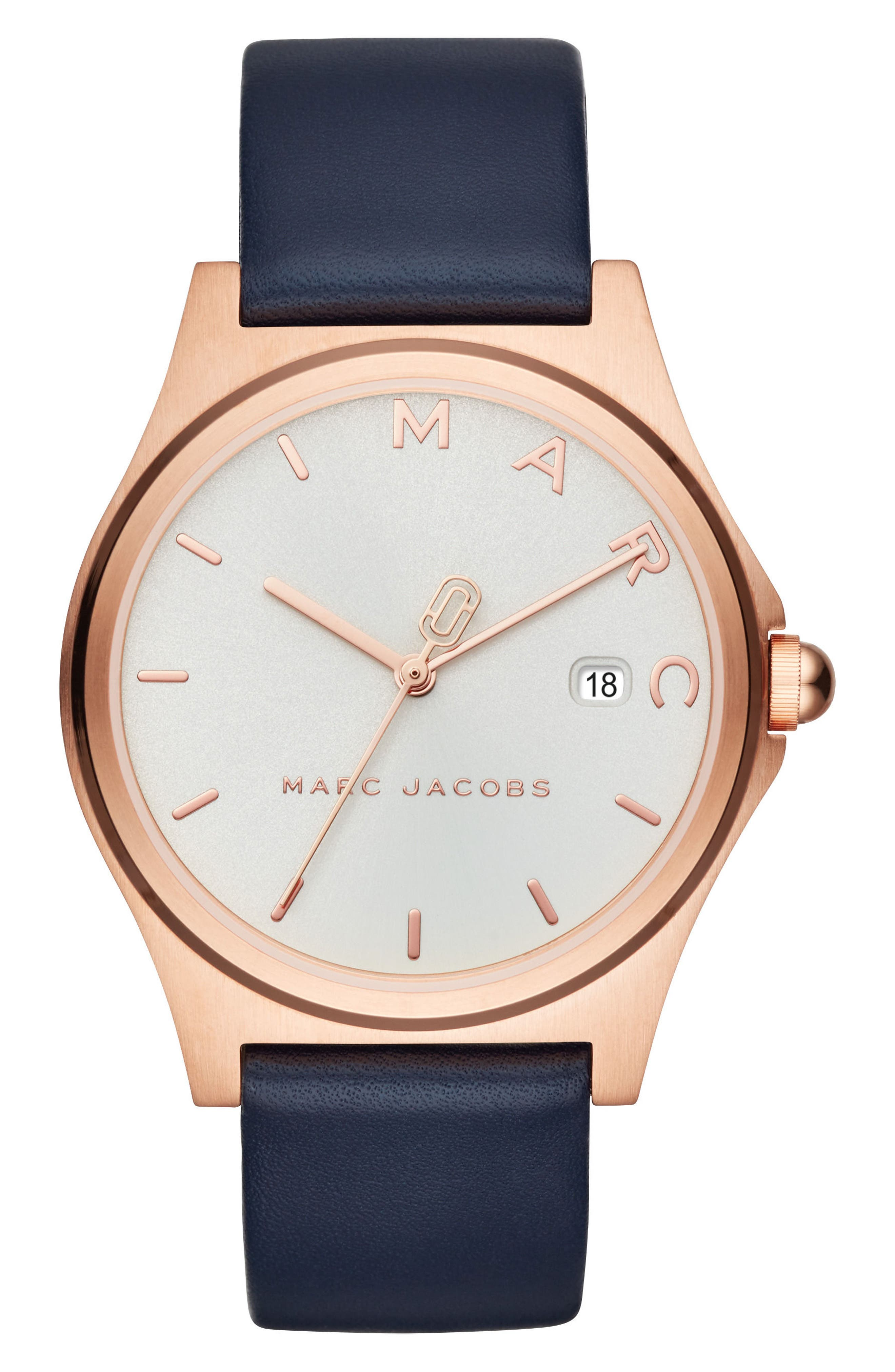 Henry Leather Strap Watch, 38mm,                         Main,                         color, Blue/ White/ Rose Gold
