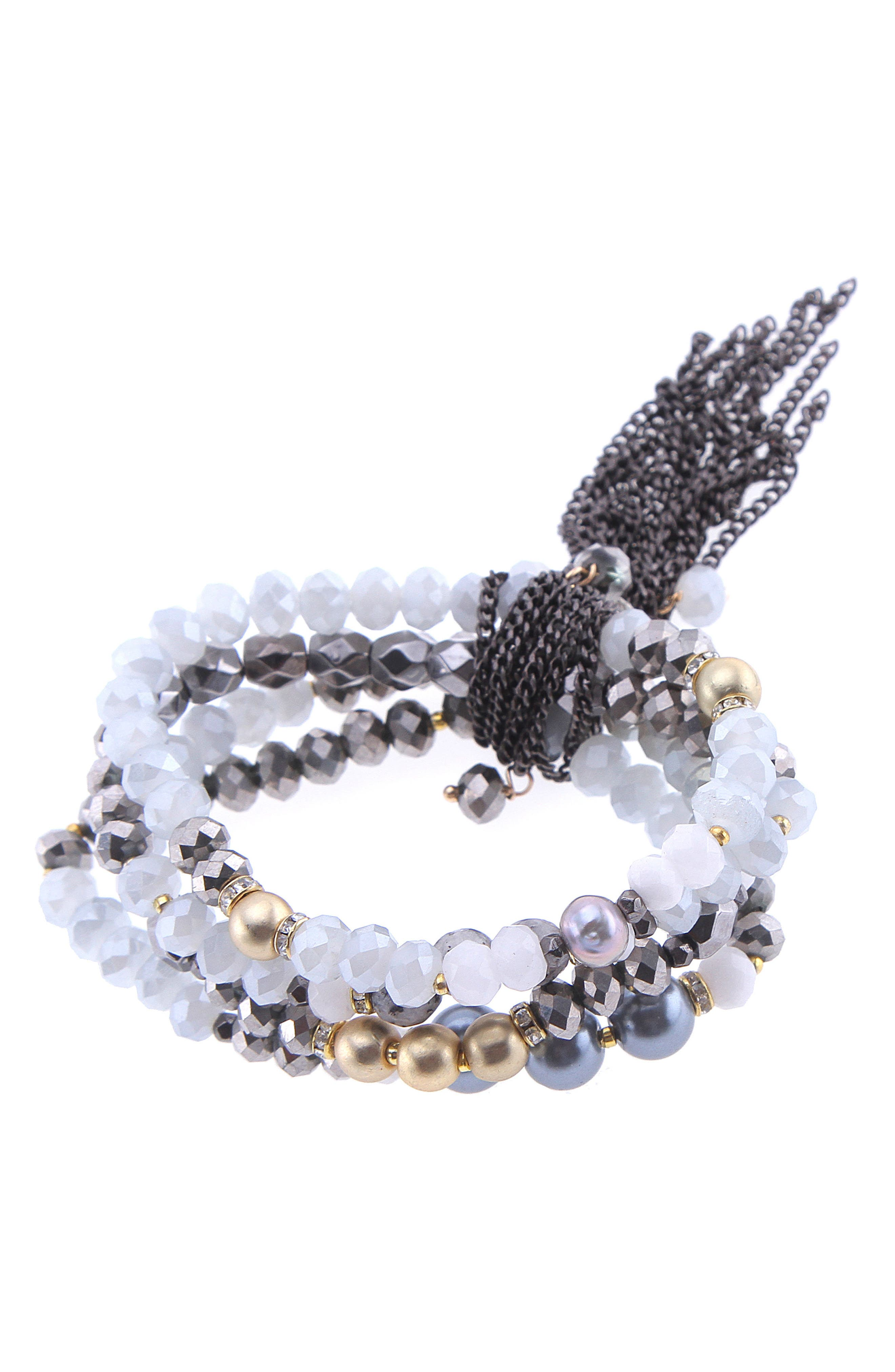 Crystal & Freshwater Pearl Stretch Bracelet,                         Main,                         color, White