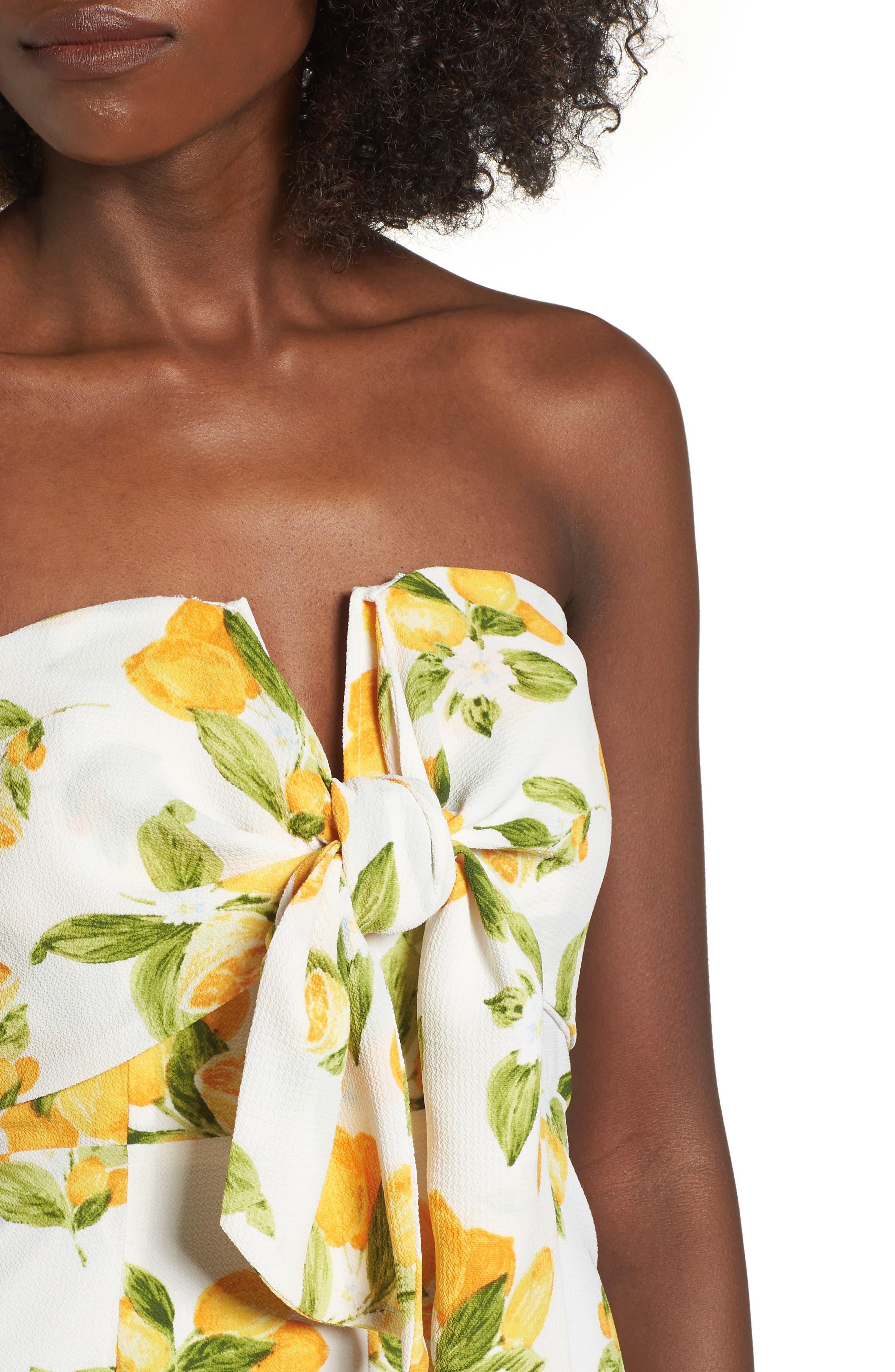 Strapless Tie Front Jumpsuit,                             Alternate thumbnail 4, color,                             Lemon Print