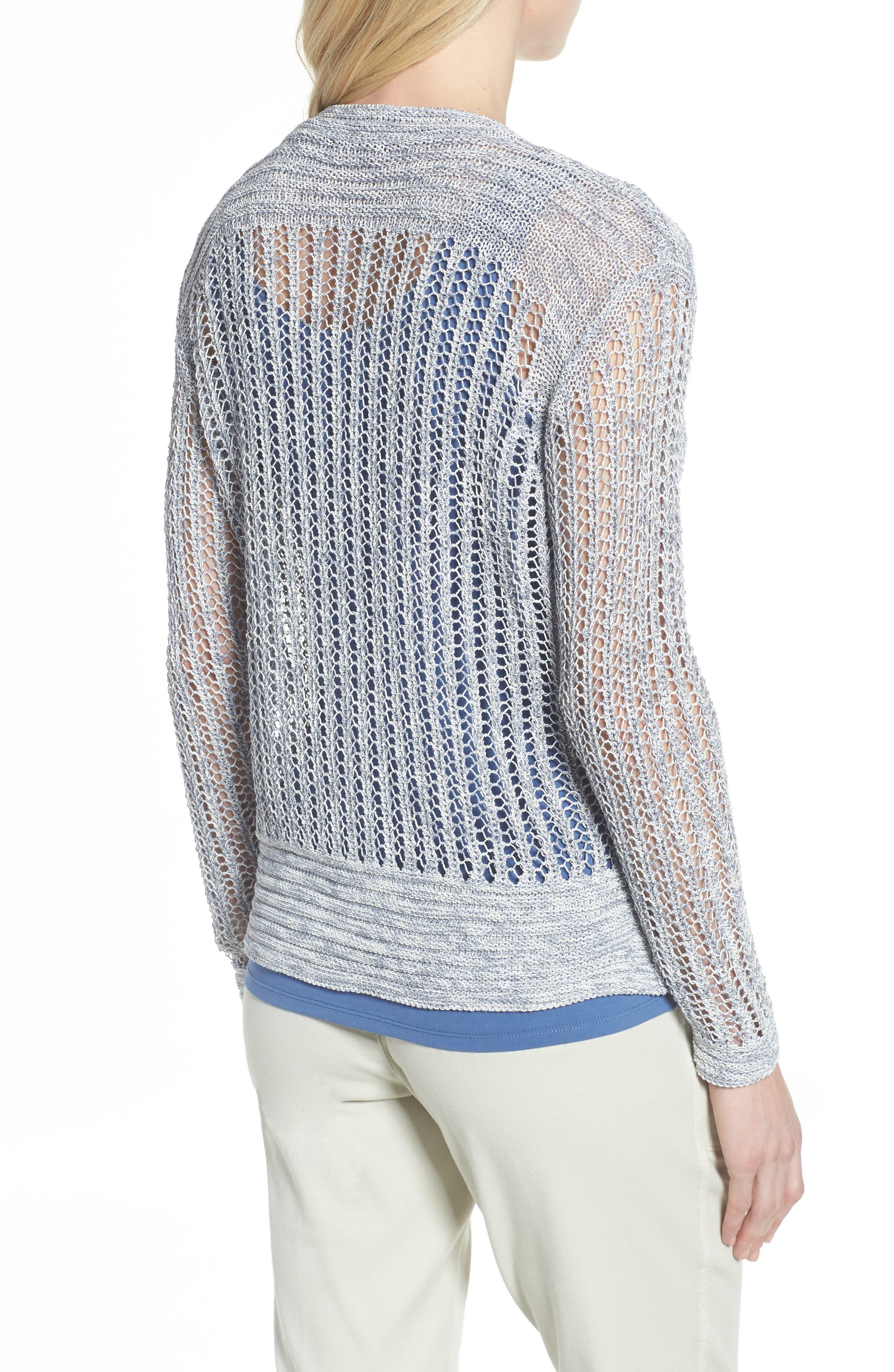 Open Stitch Sweater,                             Alternate thumbnail 2, color,                             Indigo Mix