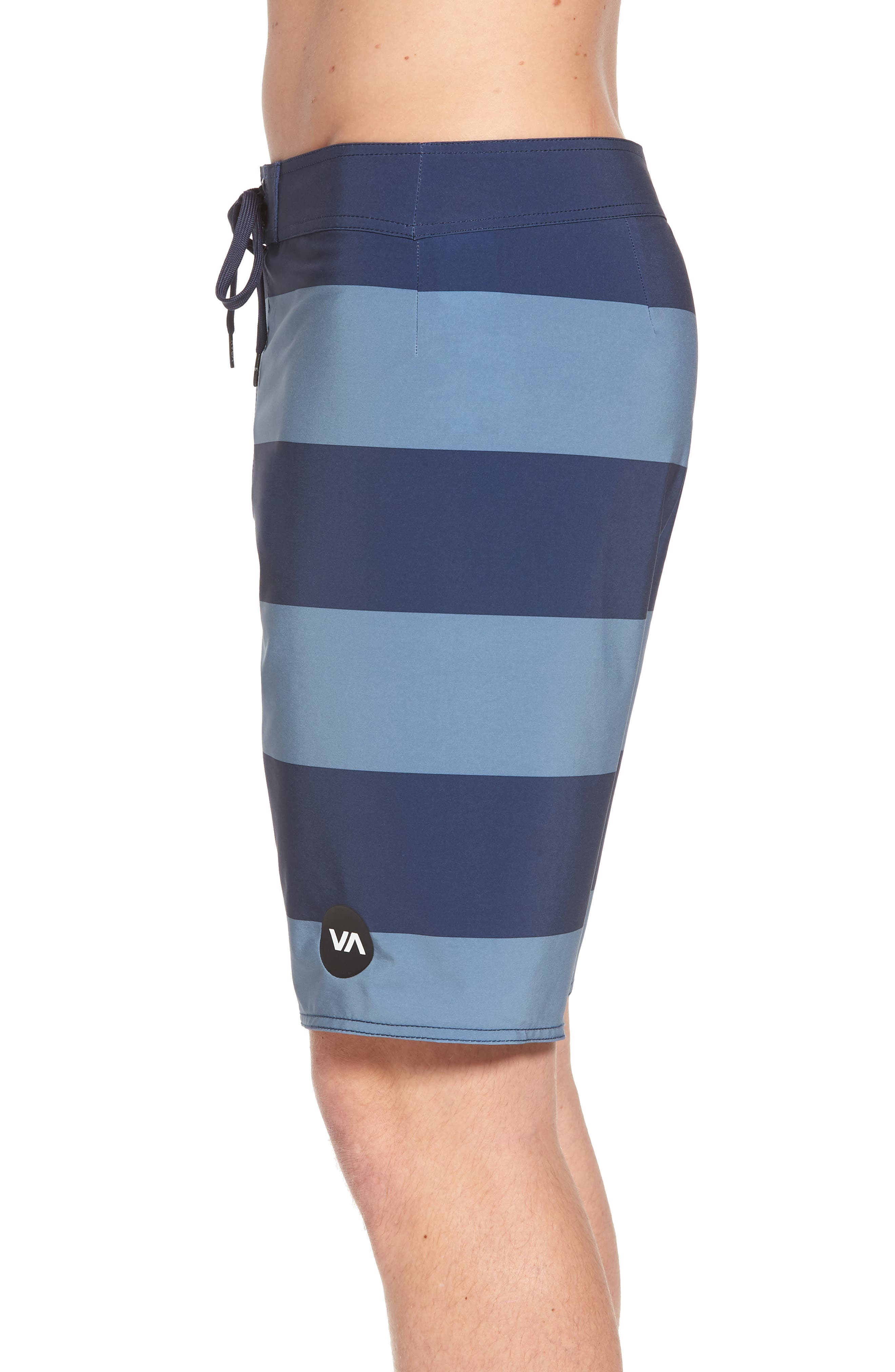 Uncivil Stripe Board Shorts,                             Alternate thumbnail 4, color,                             Classic Indigo