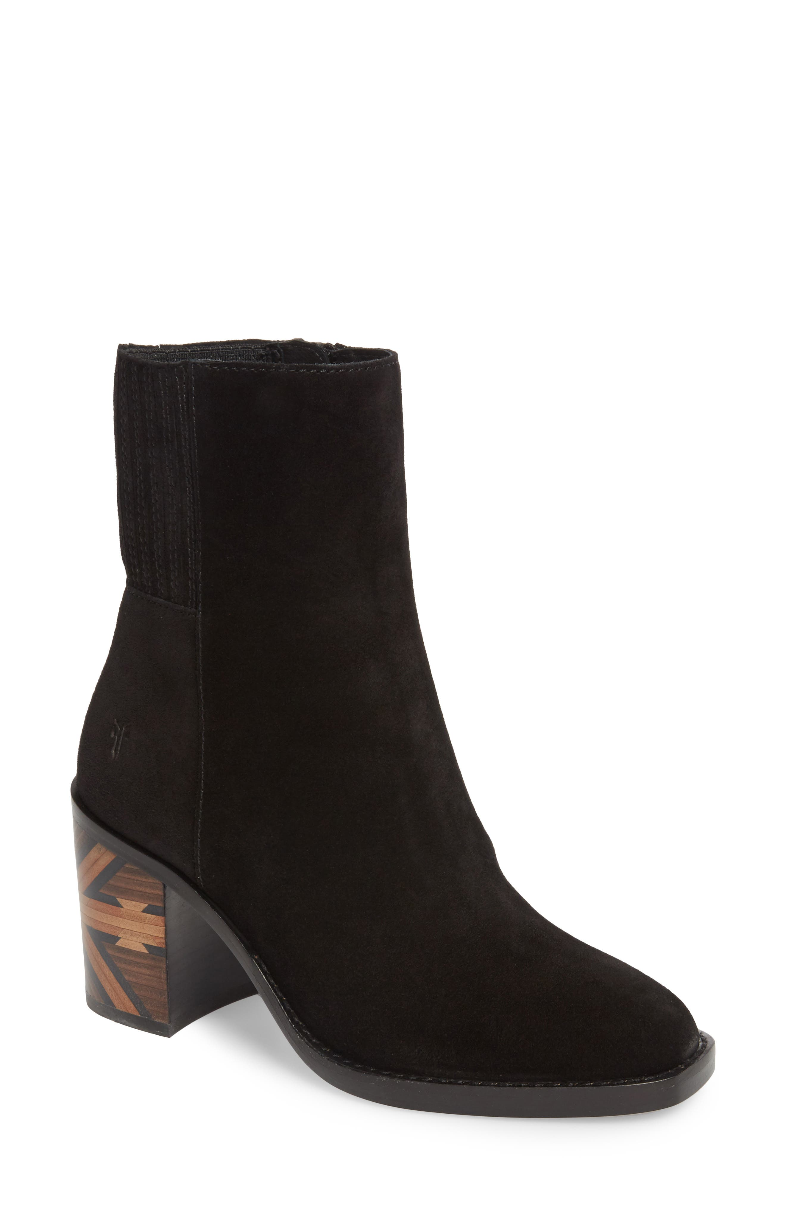 Sedona Chelsea Bootie,                         Main,                         color, Black Suede