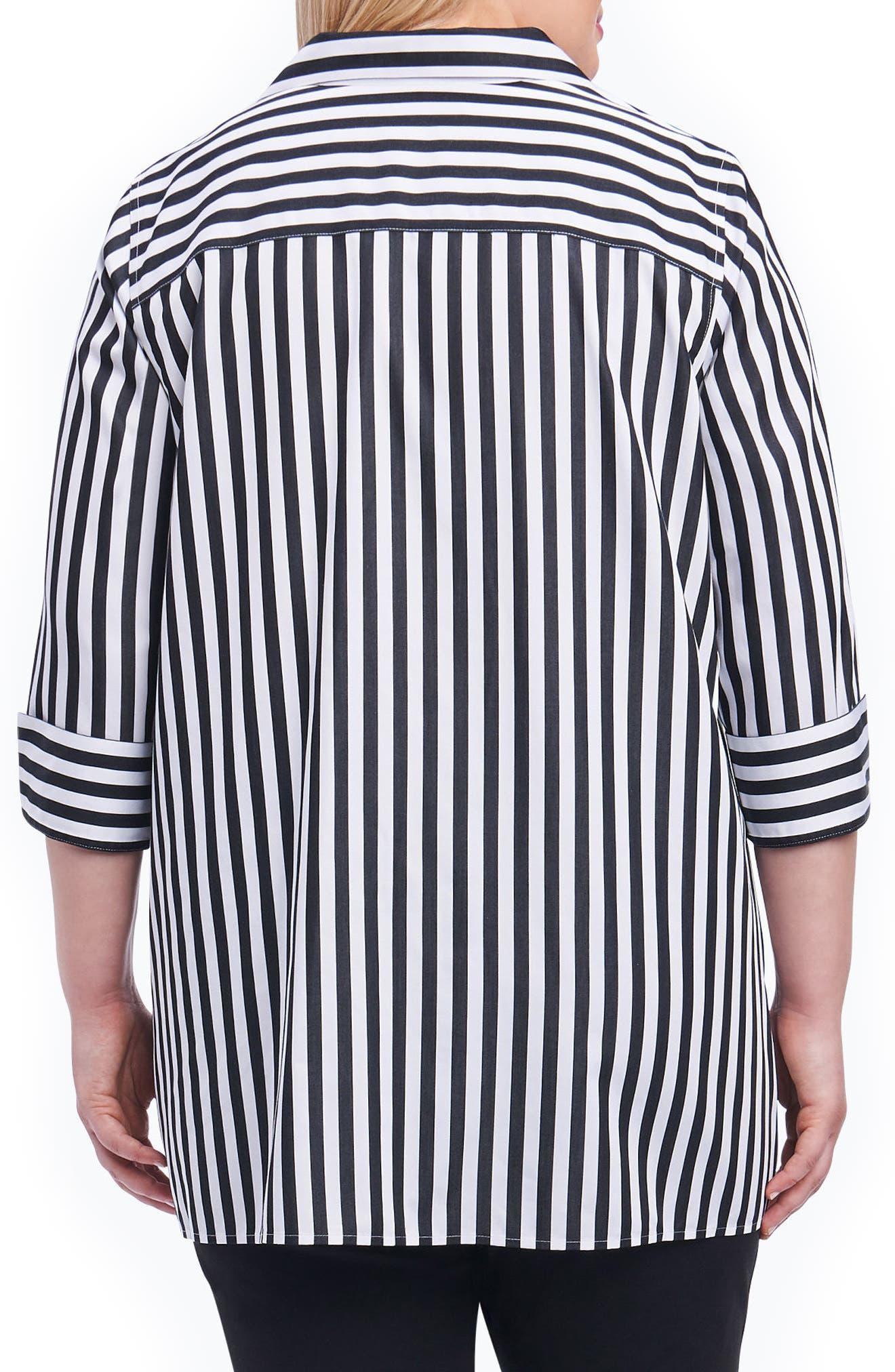 Dani Sateen Stripe Shirt,                             Alternate thumbnail 2, color,                             Black